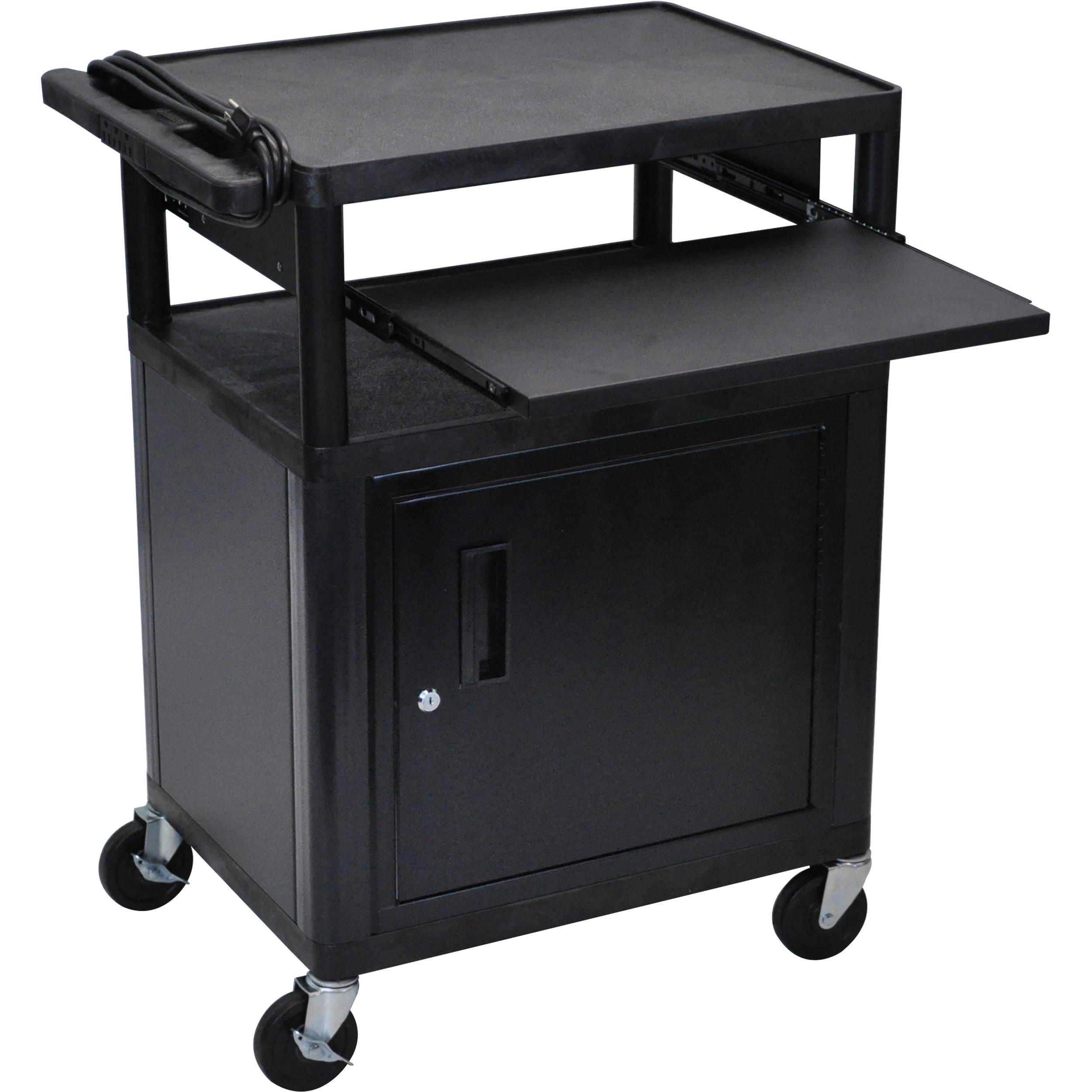 Luxor Kitchen Cabinets: Luxor LP34CLE-B Presentation Cart With Locking Cabinet