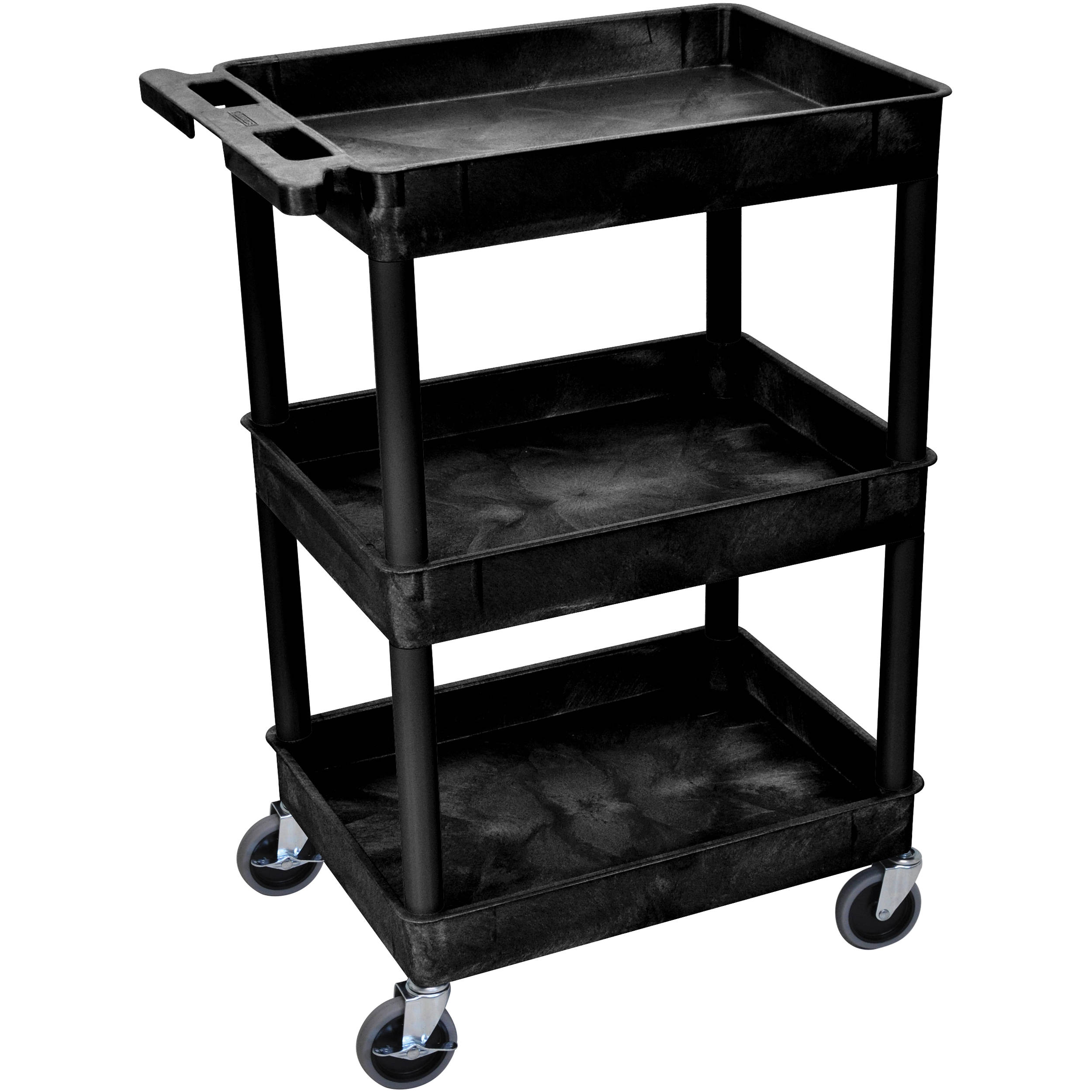 Luxor 24 X 18 Quot Three Shelf Utility Cart Black Stc111 B