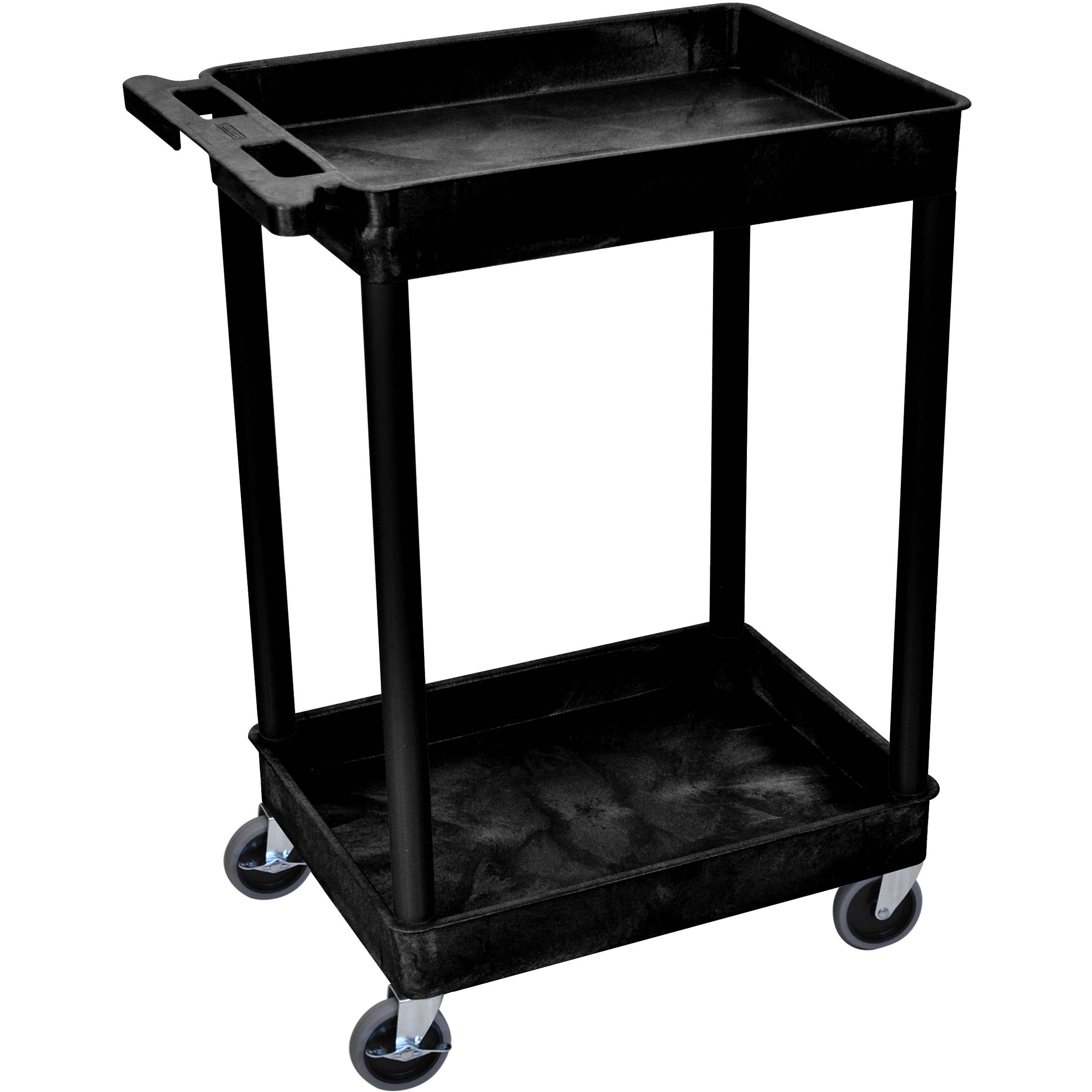 Luxor 24 X 18 Quot Two Shelf Utility Cart With Tub Top Stc11 B