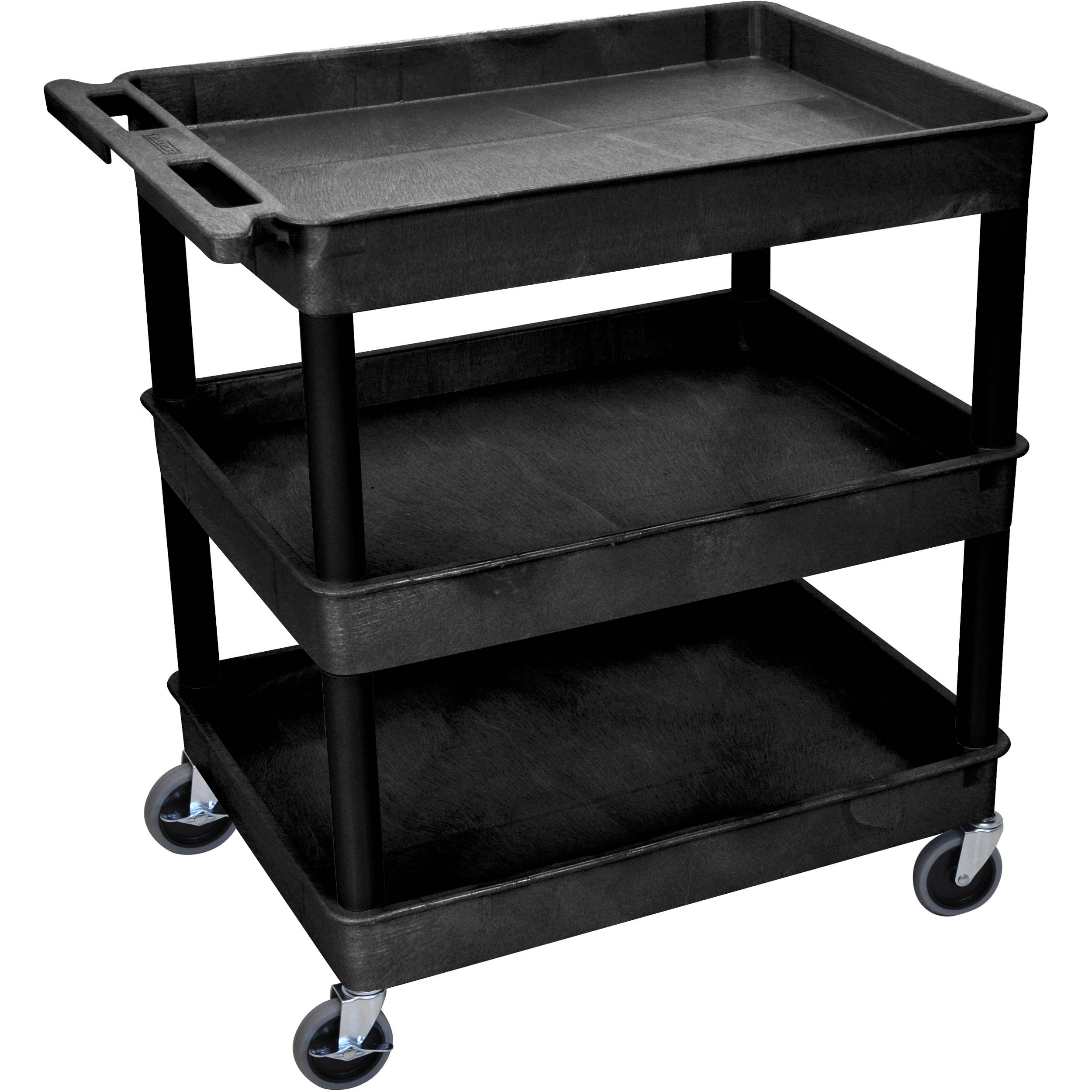 "Factory Utility Cart: Luxor 32 X 24"" Three-Shelf Utility Cart (Black) TC111-B B&H"