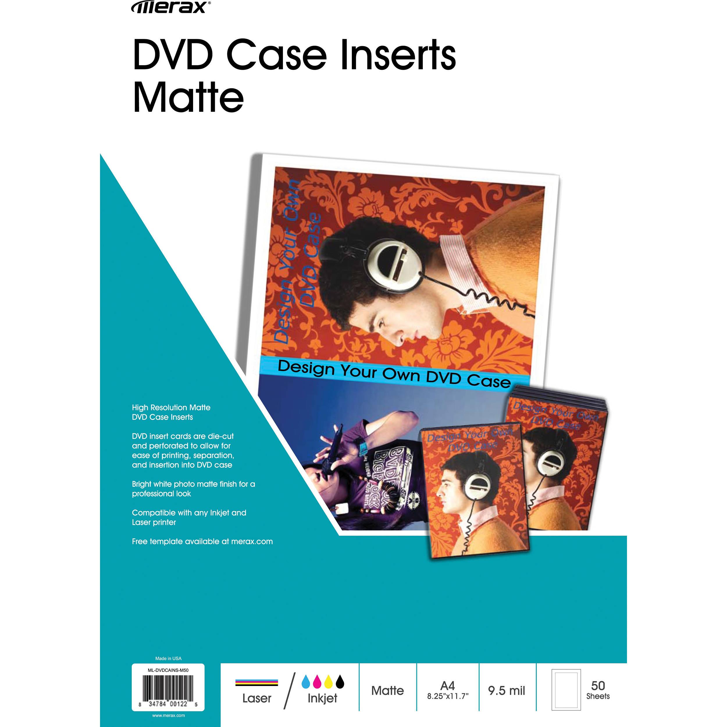 merit line matte insert for dvd case 50 sheets 161006 b h