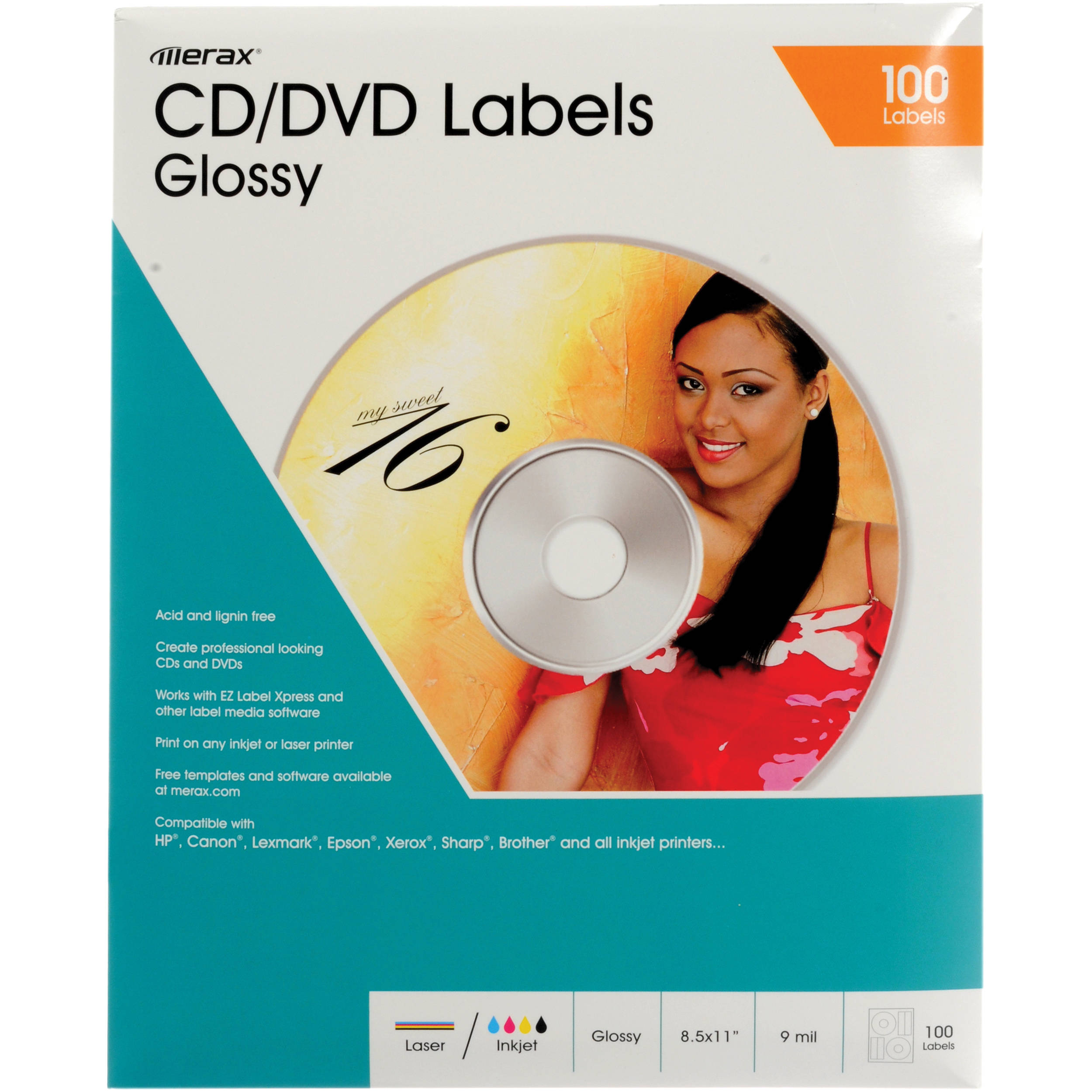 merit line cd dvd labels glossy pack of 50 176025 b h photo
