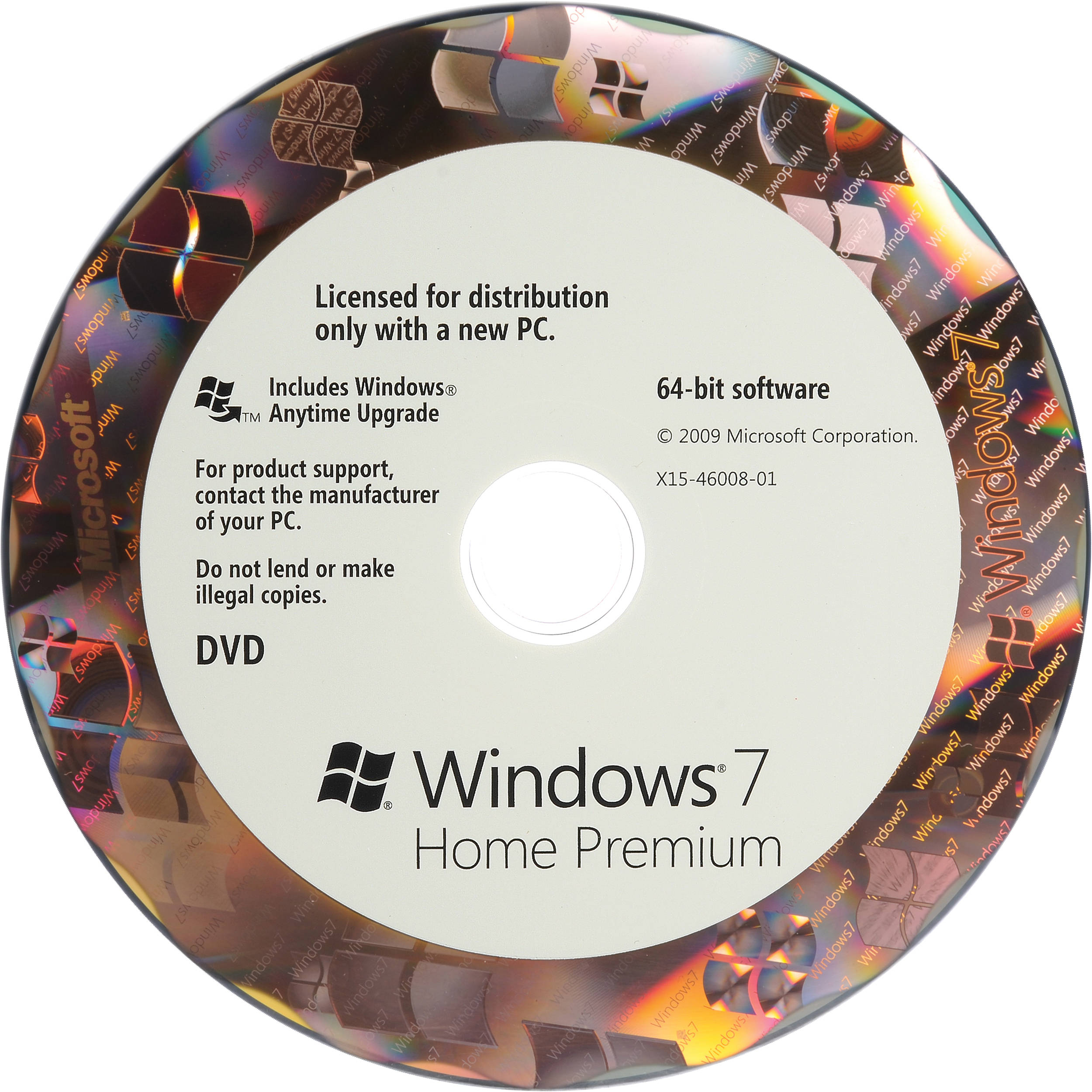Microsoft Windows 7 Home Premium (64-bit) (OEM) DVD GFC-00599