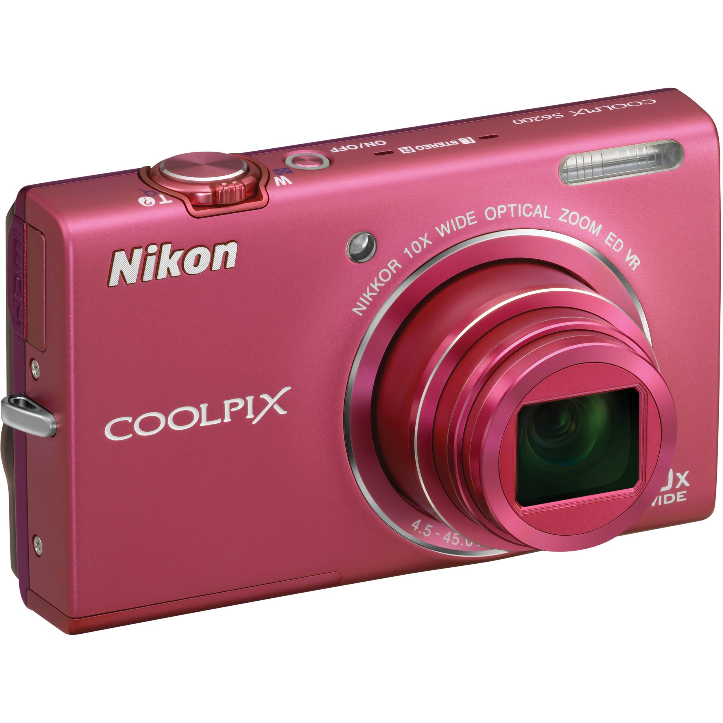 Nikon Coolpix S6200 Digital Camera (Pink) 26277 B&H Photo