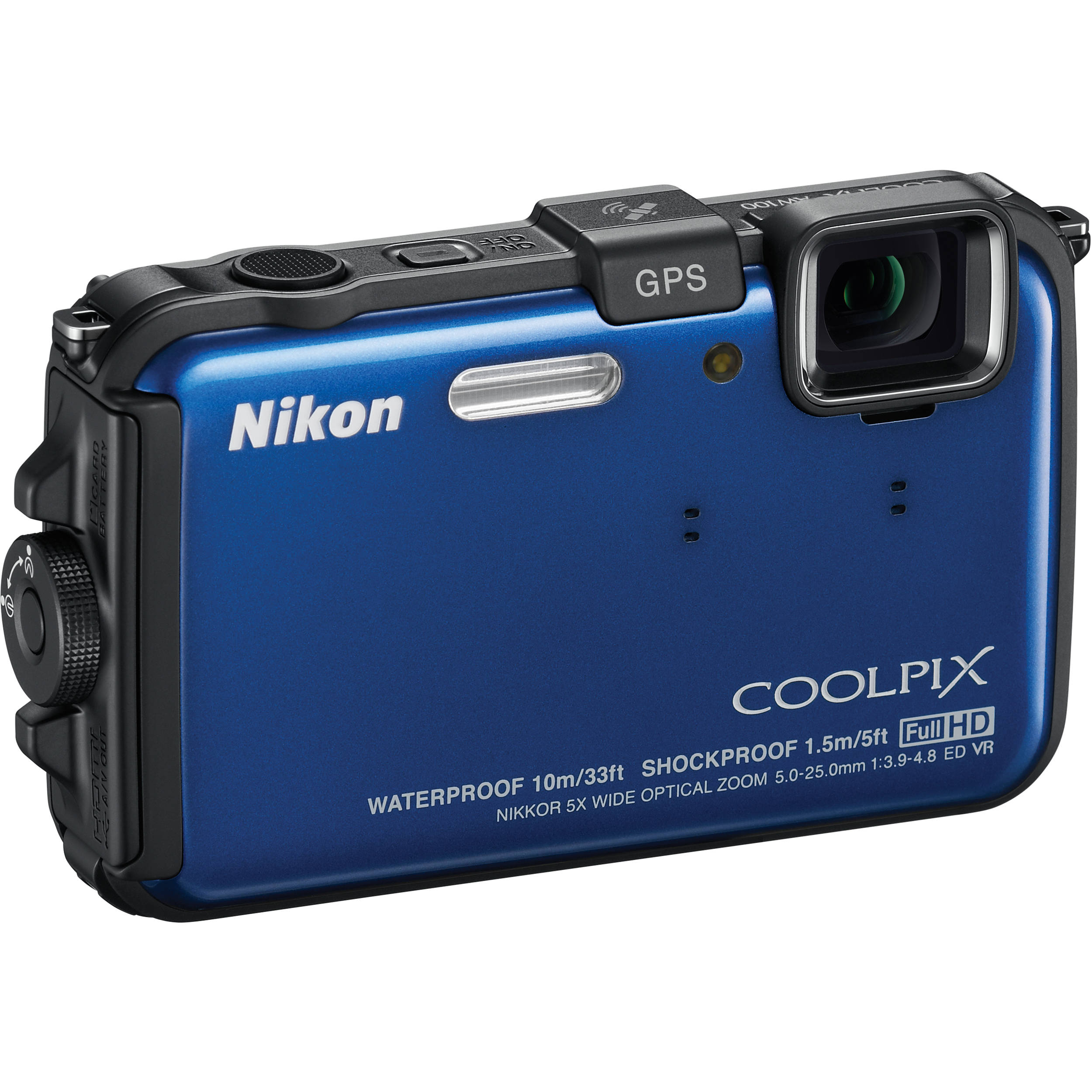 Used Nikon Coolpix AW100 Waterproof Digital Camera (Blue) 26292B