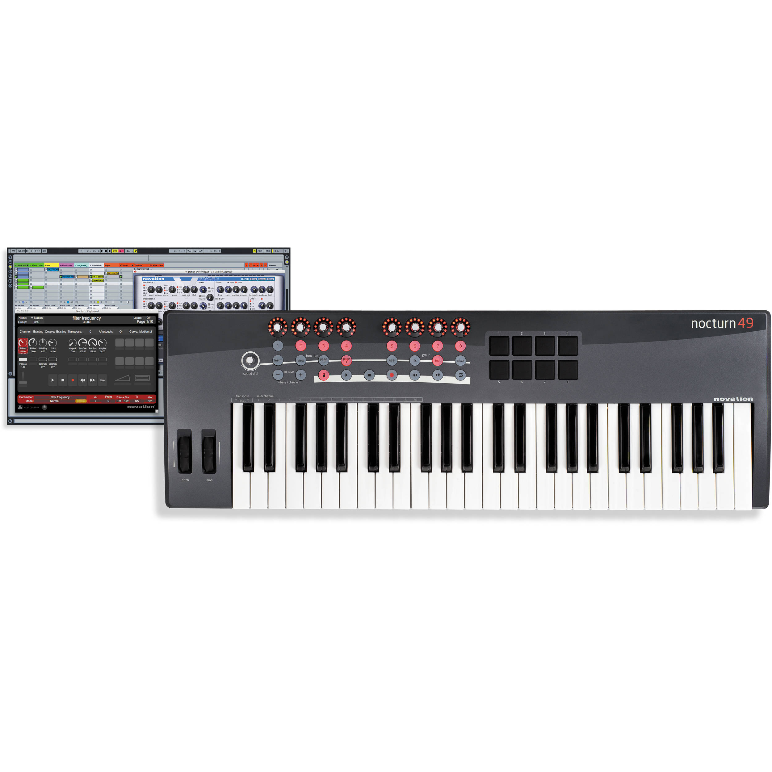 novation nocturn 49 usb midi controller keyboard nocturn 49 b h. Black Bedroom Furniture Sets. Home Design Ideas