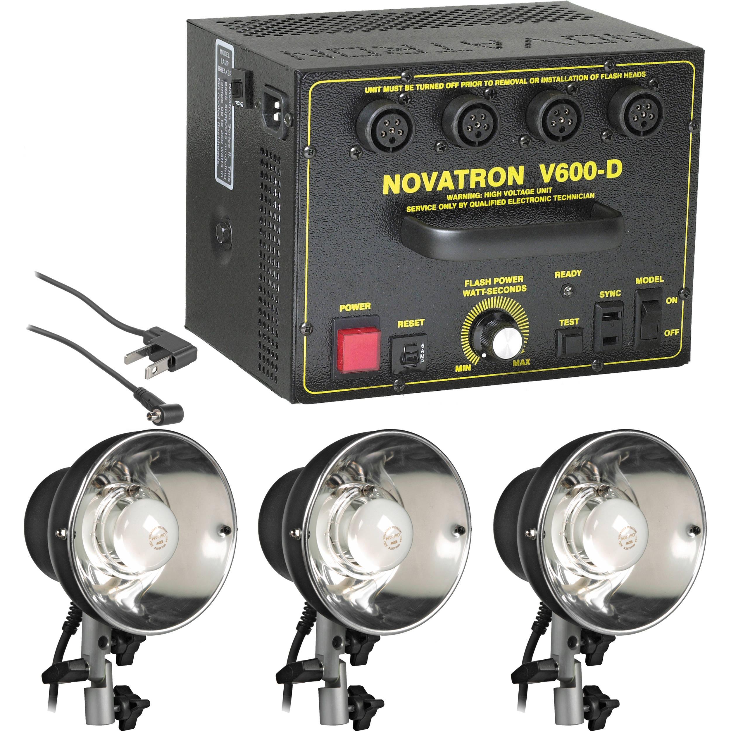 Novatron V600-D 600 W/S 3- Light Kit No Umbrellas Stands  sc 1 st  Bu0026H & Novatron V600-D 600 W/S 3- Light Kit No Umbrellas NPHGV6003 Bu0026H azcodes.com