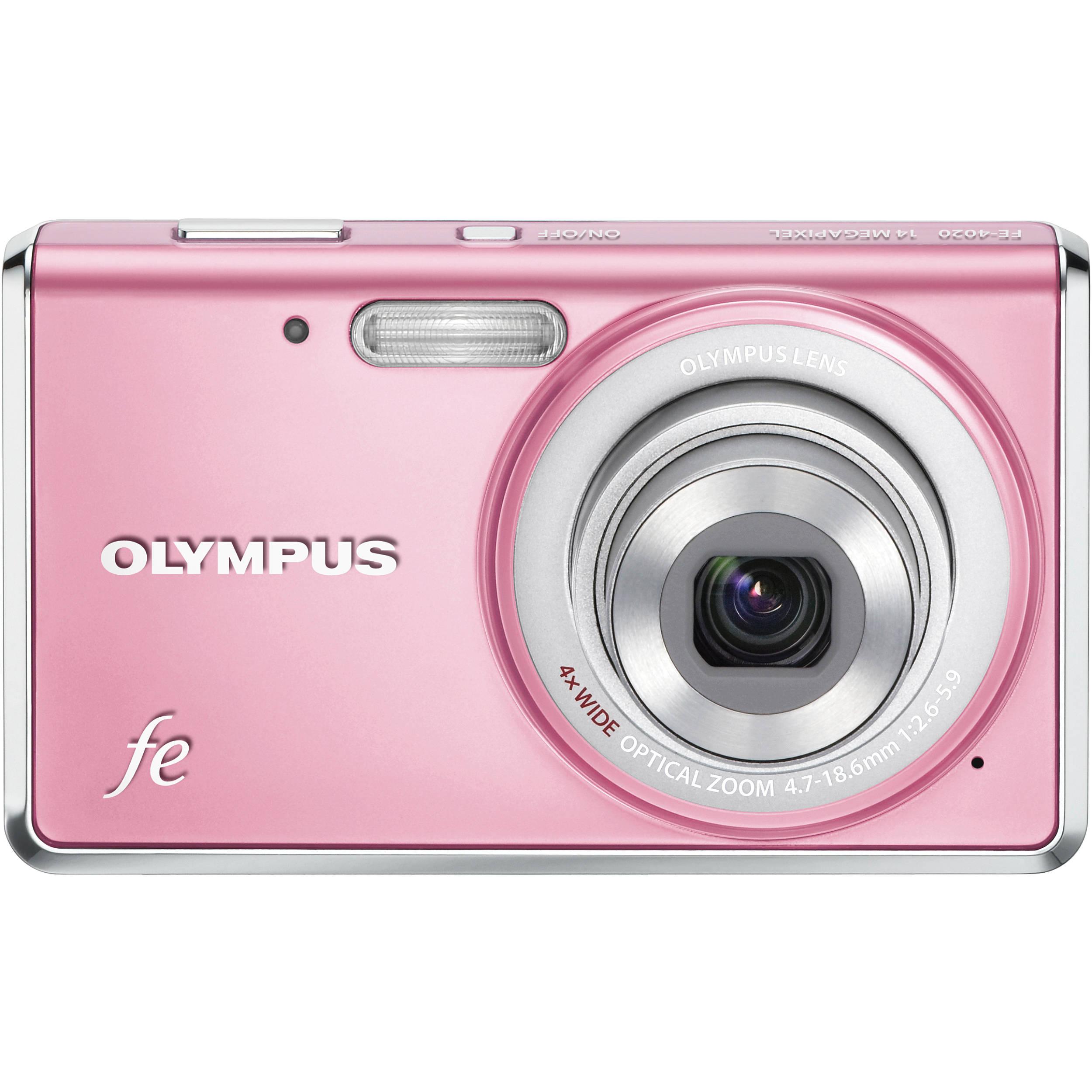 Olympus Digital Camera: Olympus FE-4020 Digital Camera (Light Pink) 227510 B&H Photo