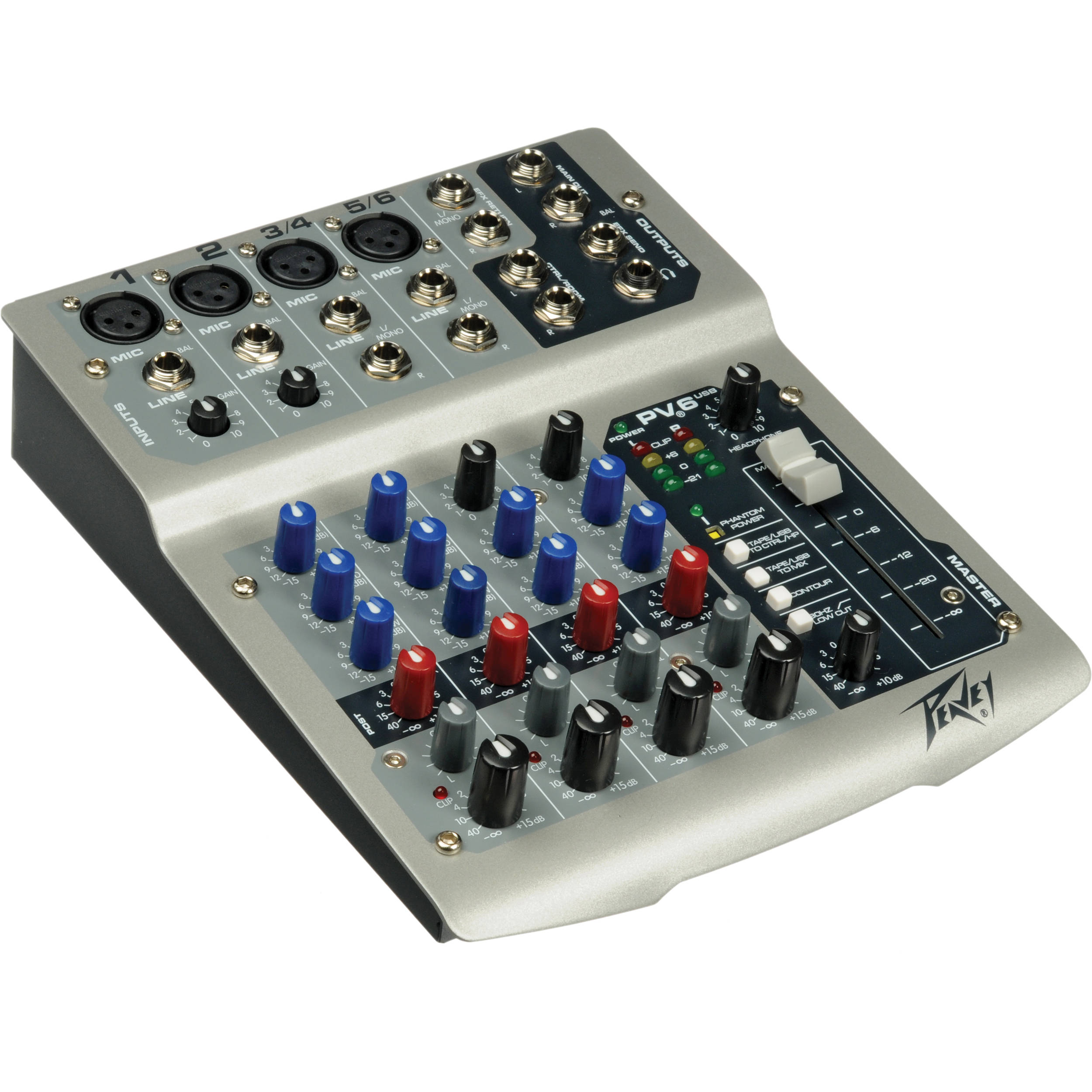 peavey pv6 usb live sound mixer with 6 channels and usb 03513300. Black Bedroom Furniture Sets. Home Design Ideas