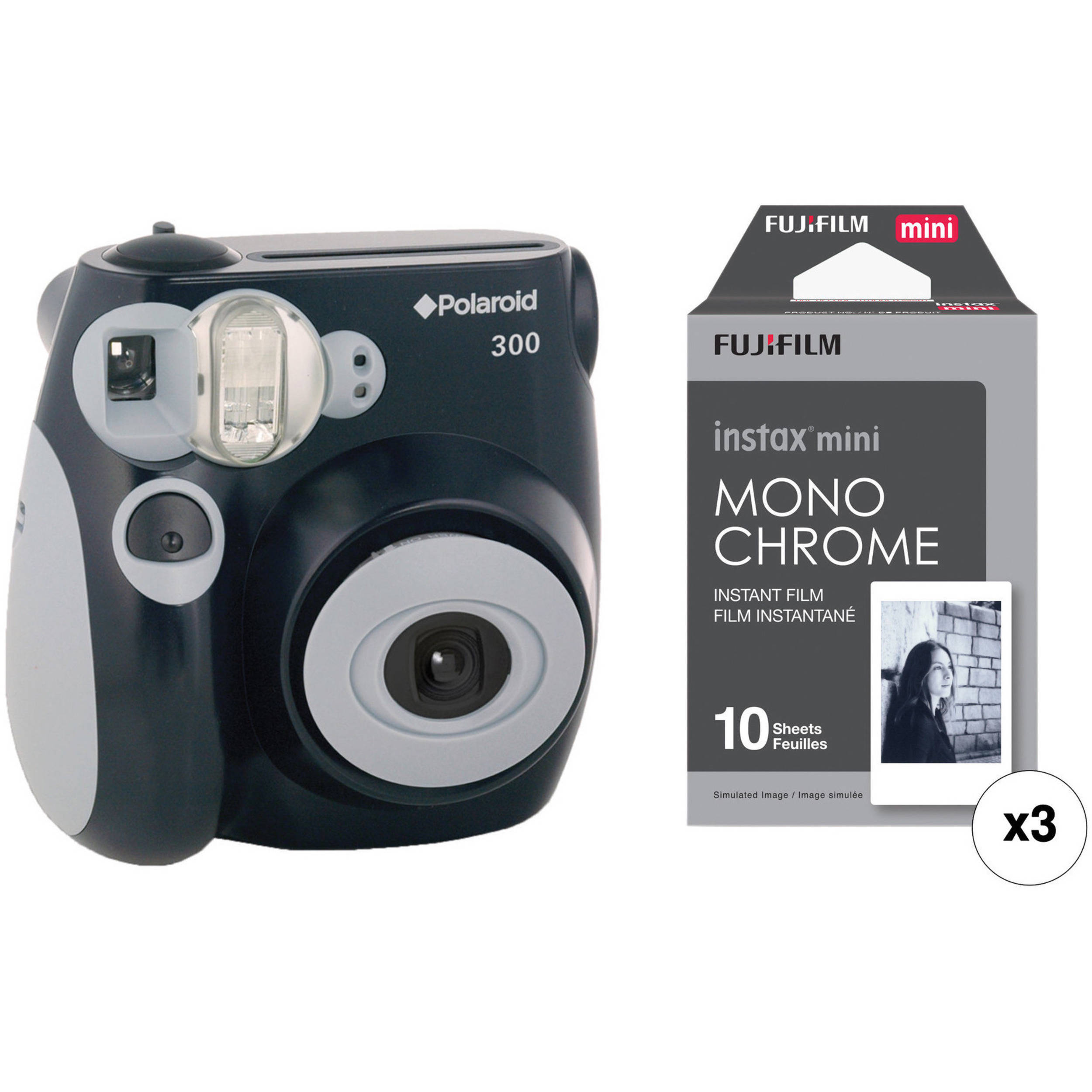 300 Instant Film Camera with Instant Film Kit (Black)