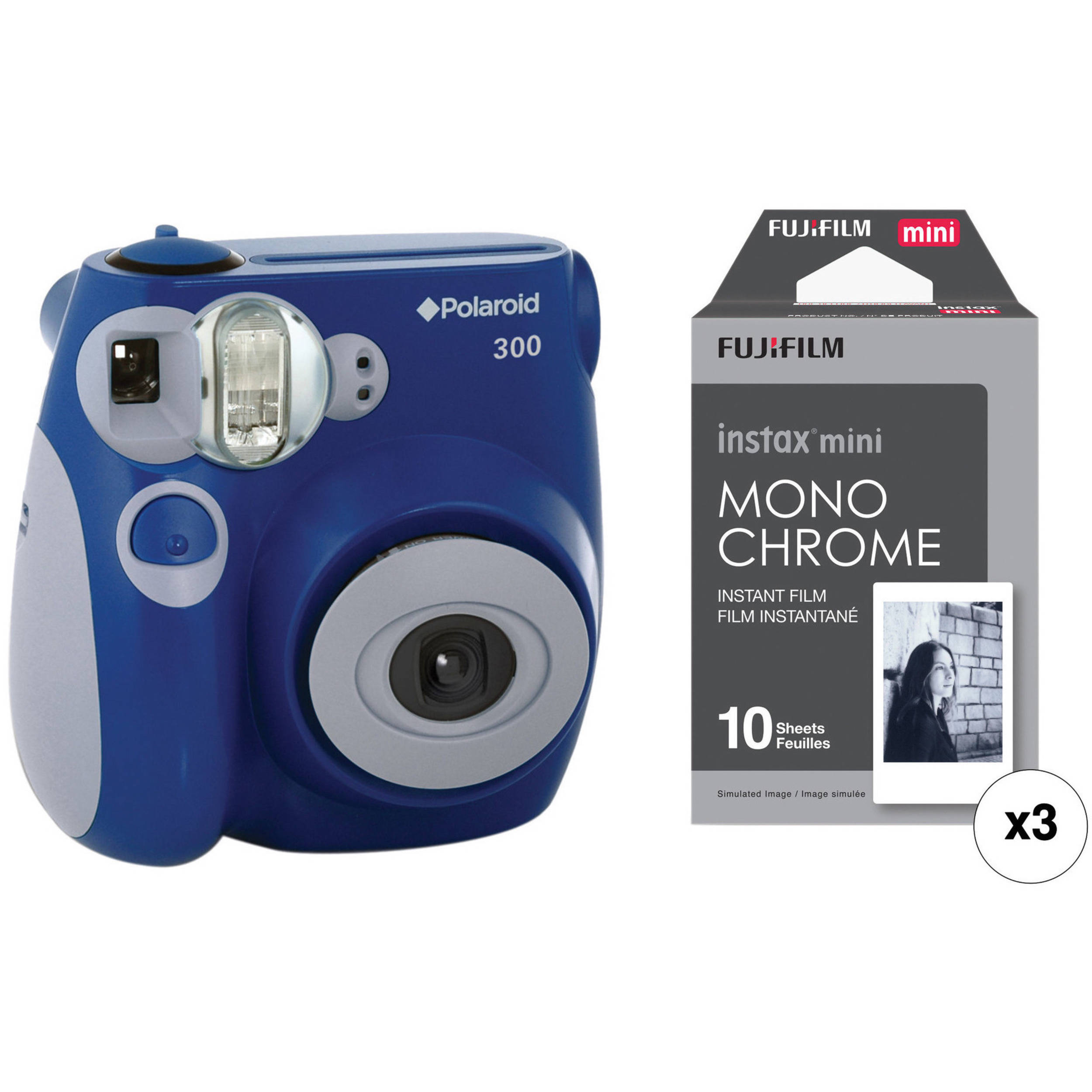 300 Instant Film Camera with Instant Film Kit (Blue)