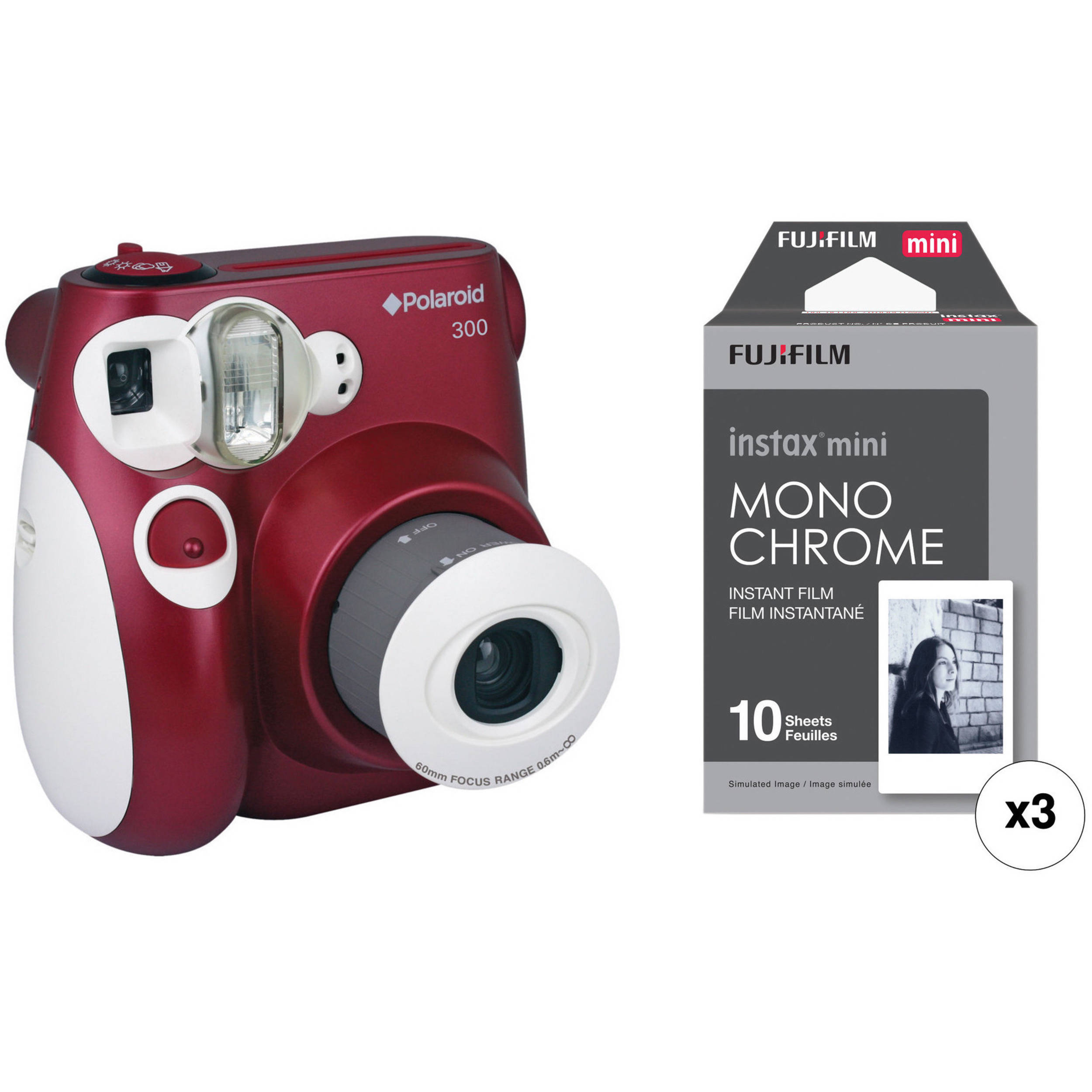 Polaroid 300 Instant Film Camera with Instant Film Kit (Red) B&H