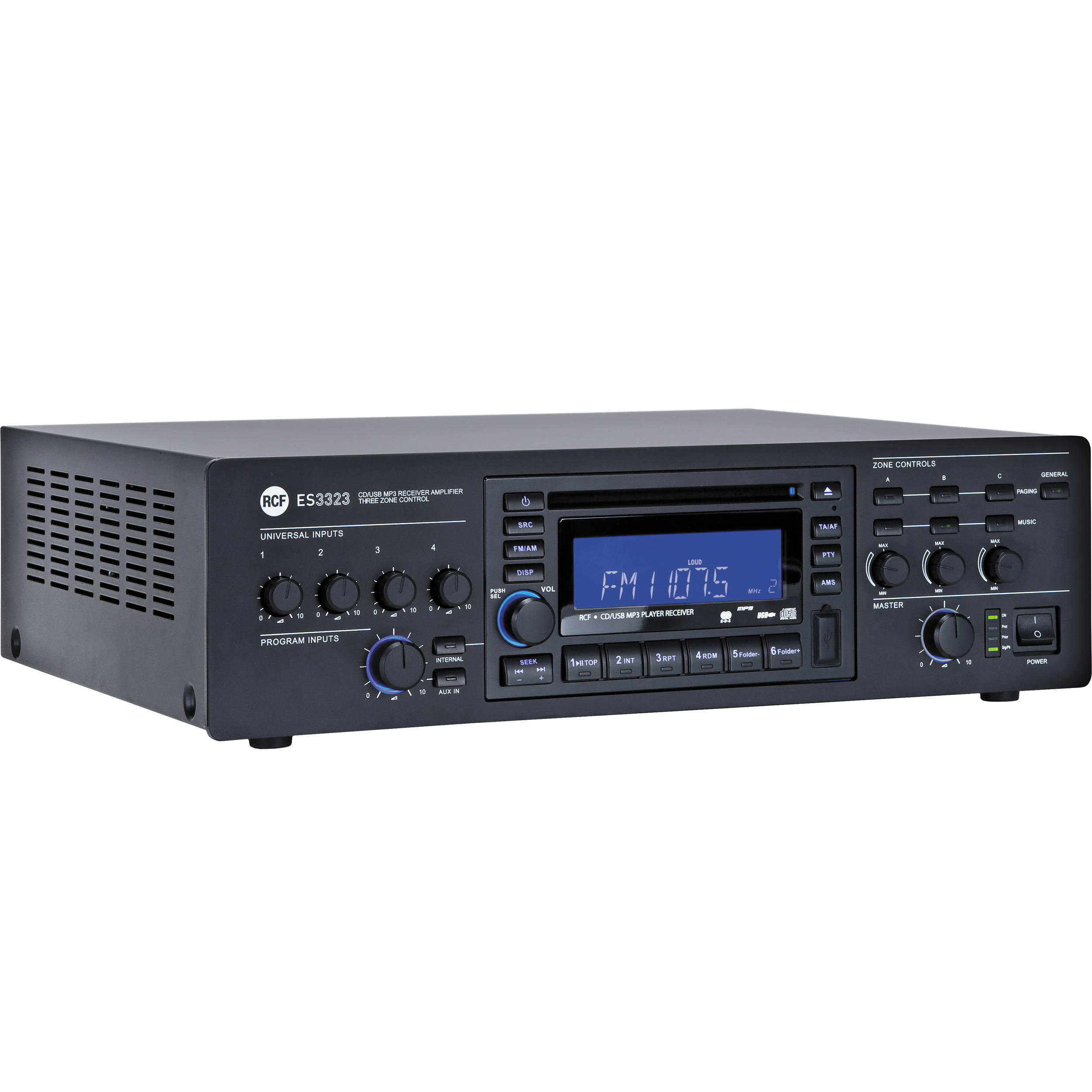 rcf es 3323 3 zone receiver mixer amplifier es3323 b h. Black Bedroom Furniture Sets. Home Design Ideas