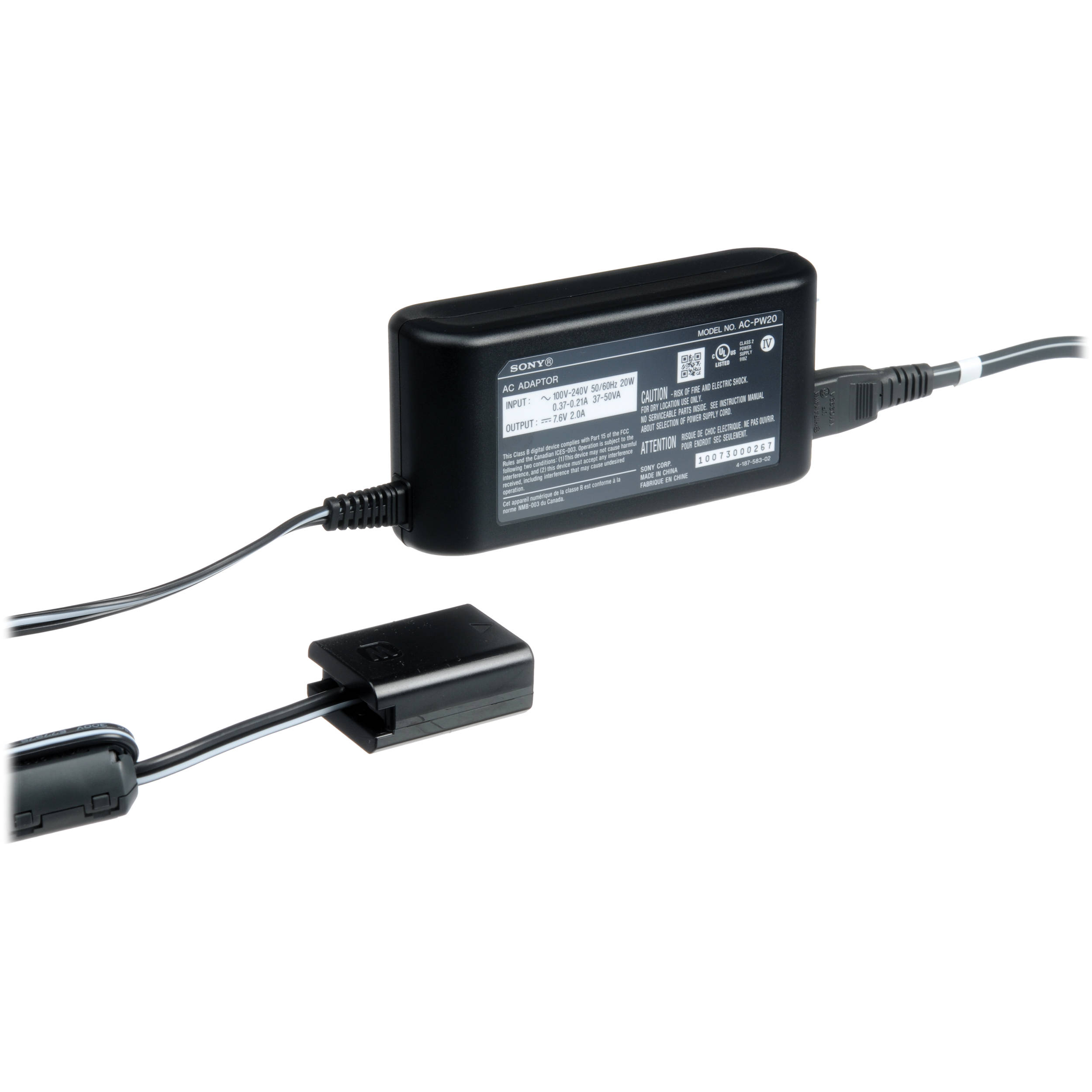 Sony Ac Adapter For Select Sony Cameras Acpw20 B Amp H Photo Video