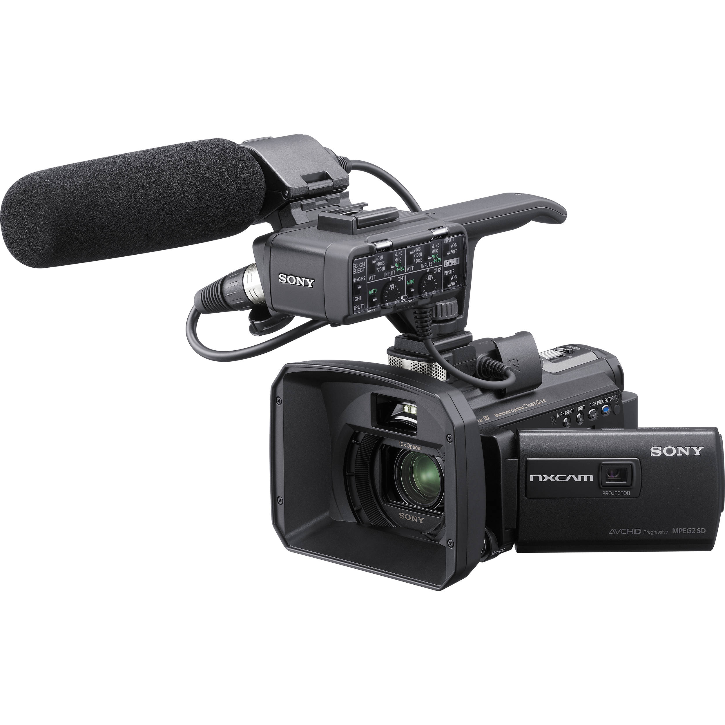 Sony 96gb hxr nx30 palm size nxcam hd camcorder hxr nx30u b h for Palm projector