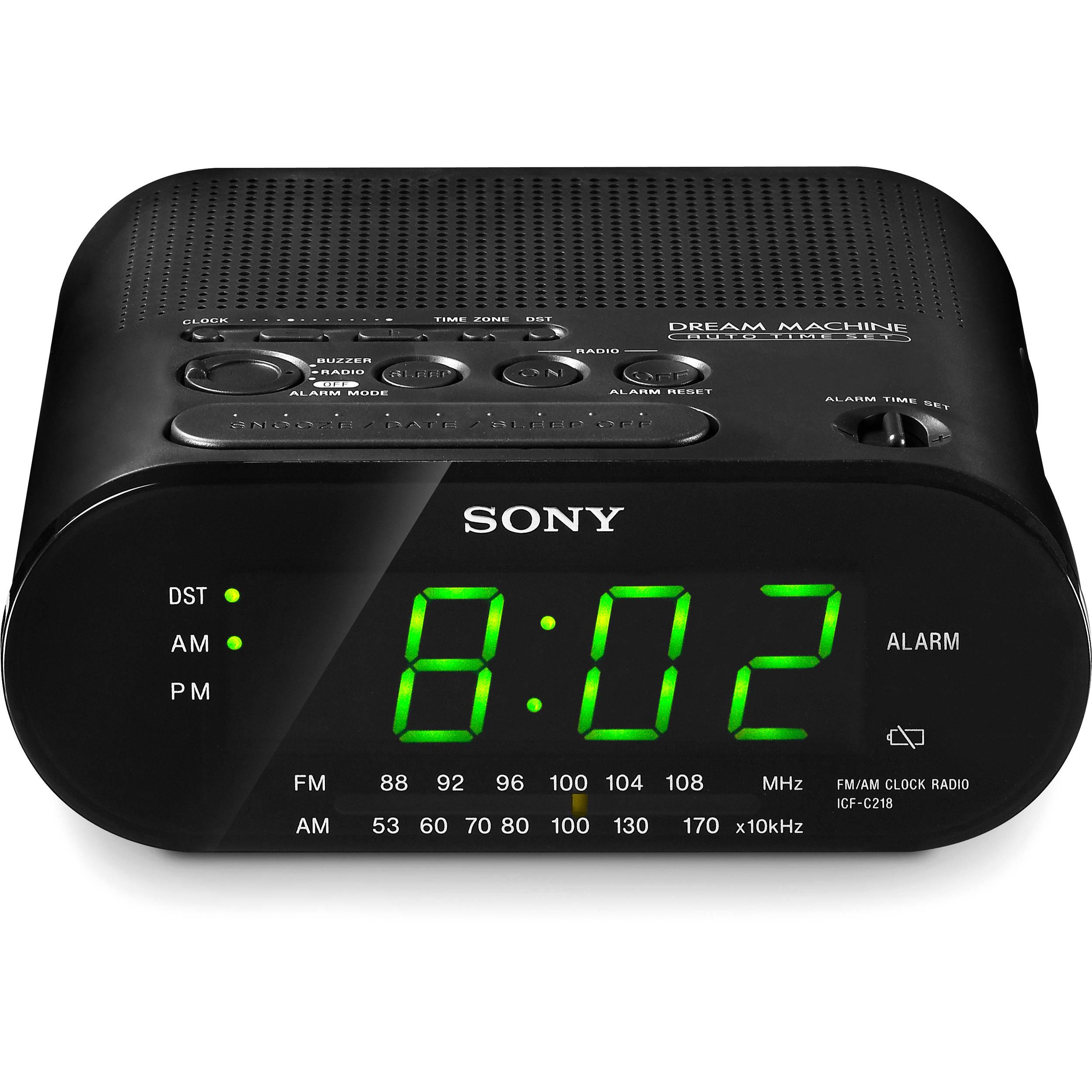 sony icf c218 am fm clock radio black icfc218black b h photo. Black Bedroom Furniture Sets. Home Design Ideas