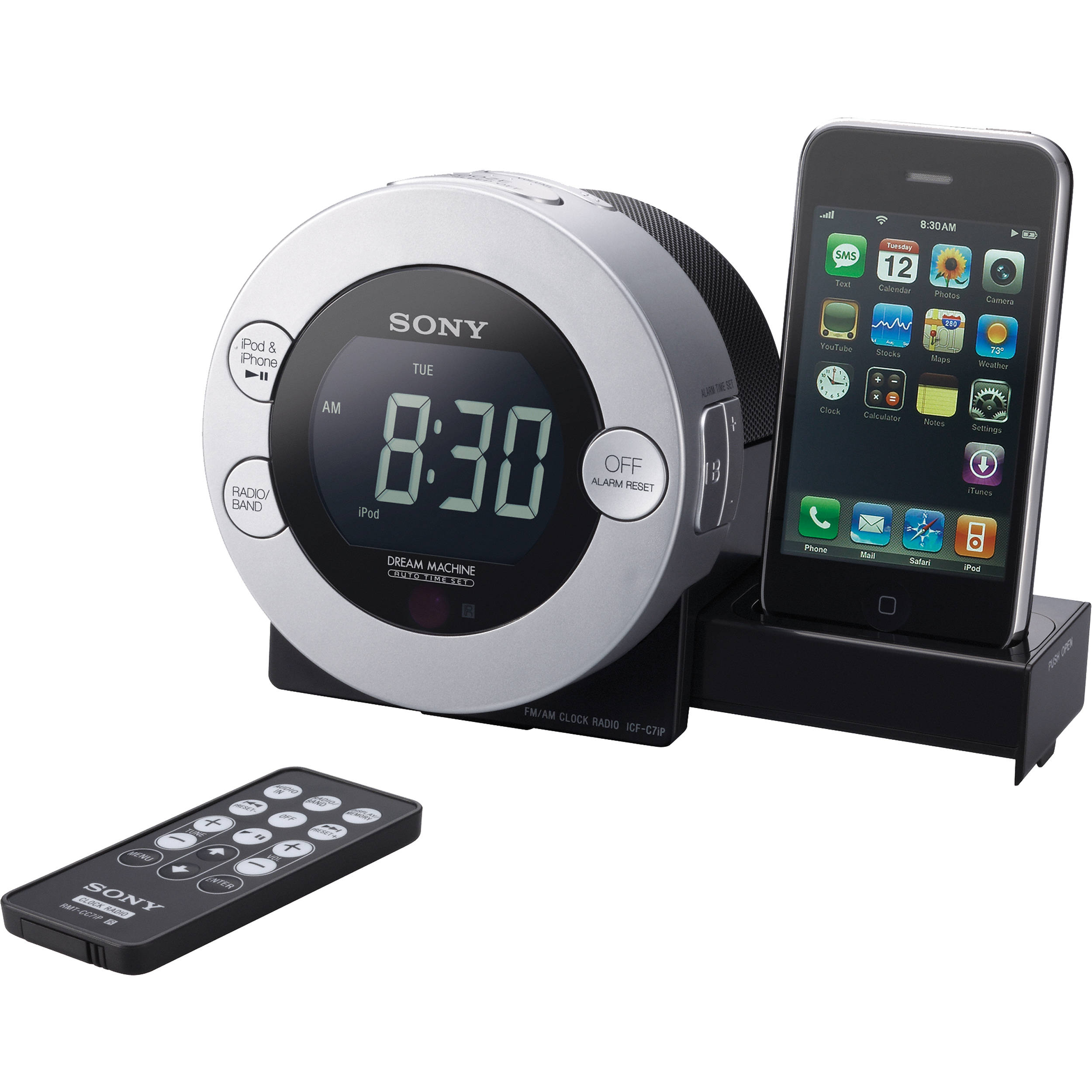 sony icf c7ip clock radio for ipod and iphone icfc7ip b h. Black Bedroom Furniture Sets. Home Design Ideas