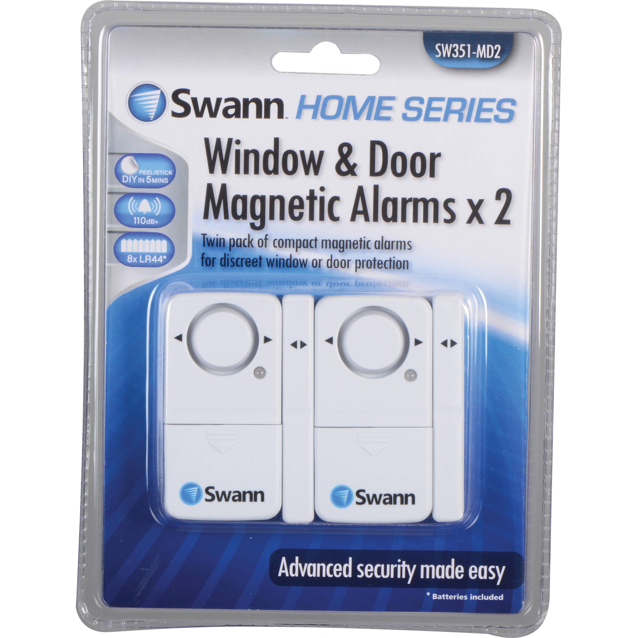 Swann magnetic window door alarm pack of 2 sw351 md2 b h for Window alarms