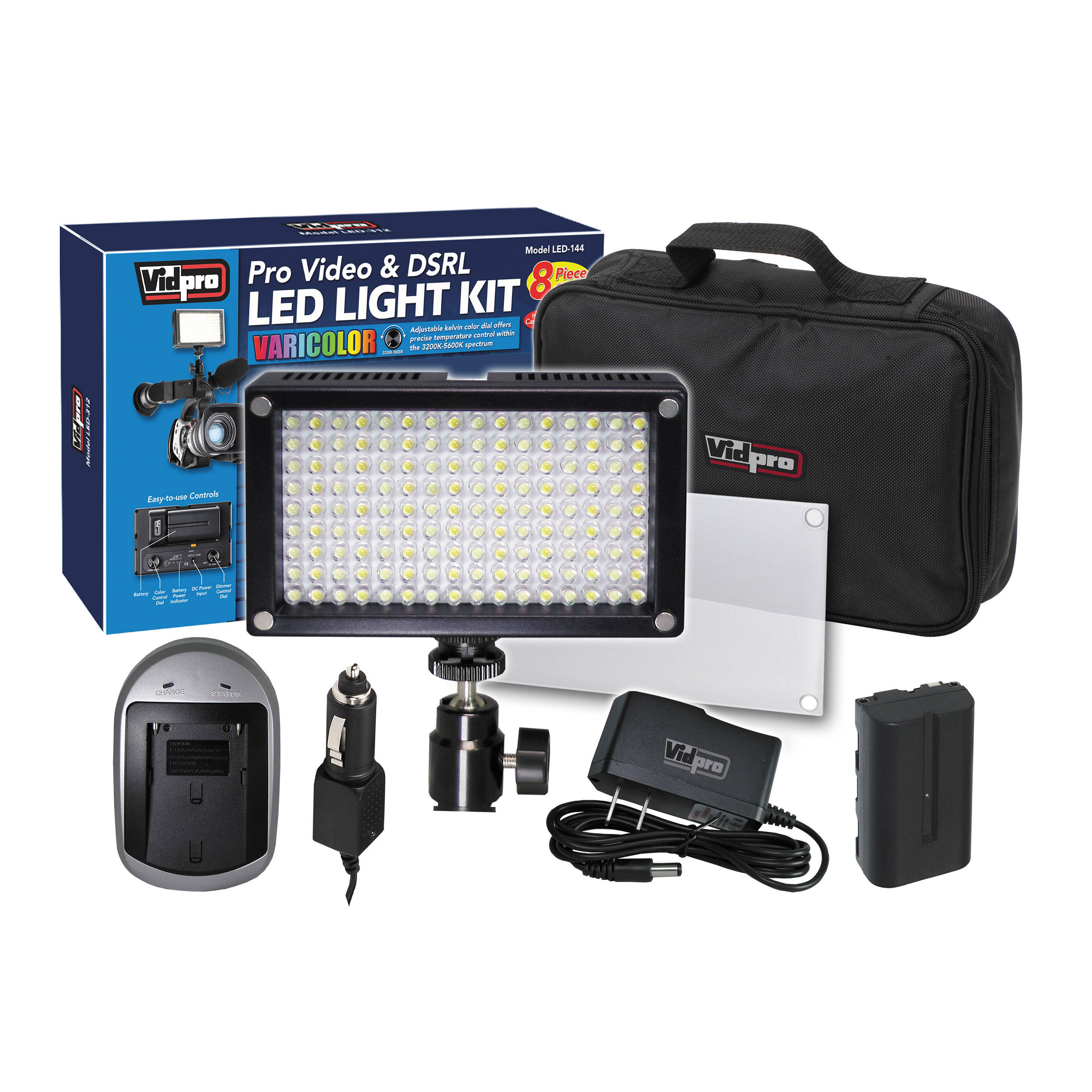 Vidpro Varicolor 144 Bulb Video And Photo Led Light Kit
