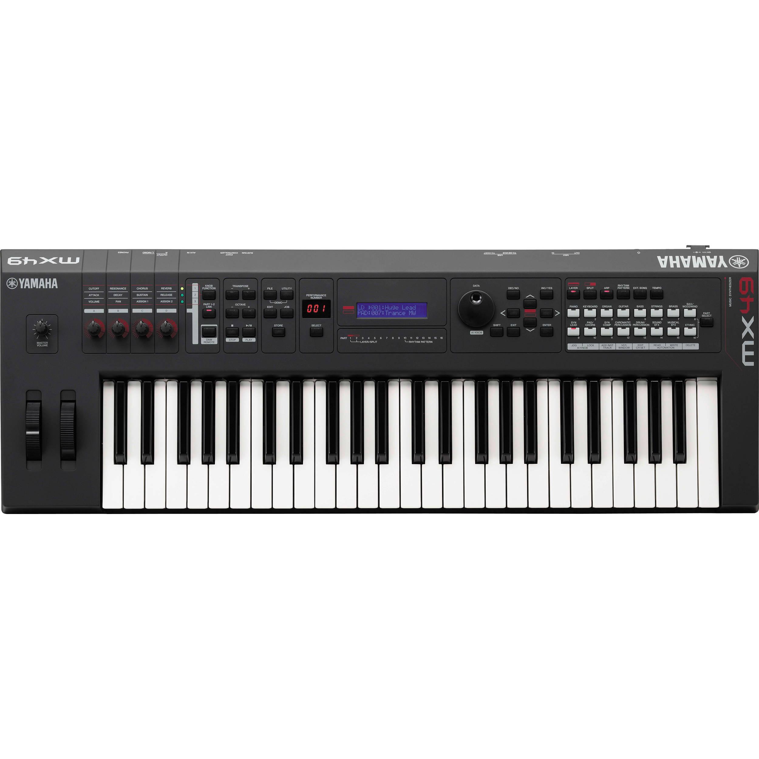 Yamaha mx49 49 key music production synthesizer mx49 b h photo for Yamaha warranty registration