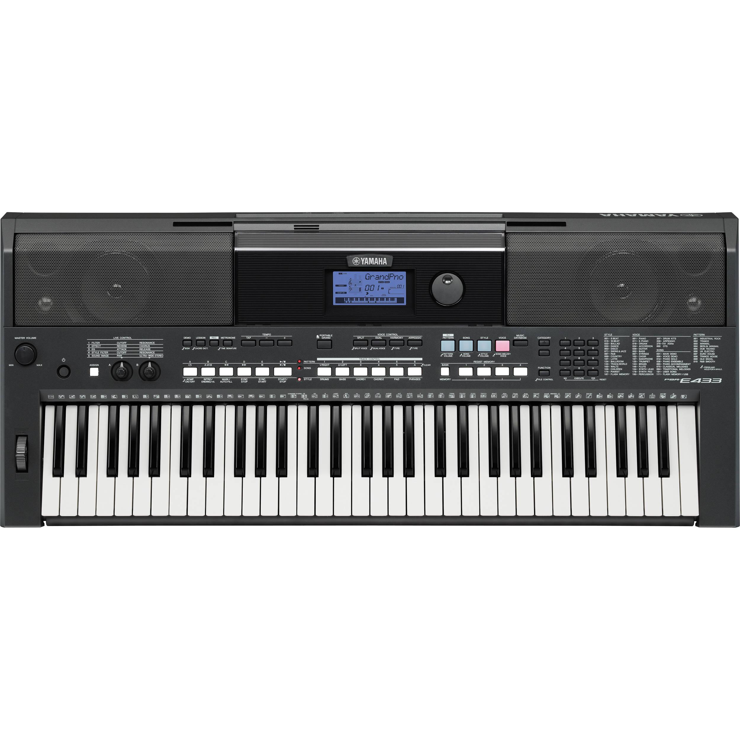 yamaha psr e433 61 key portable keyboard psre433 b h photo video. Black Bedroom Furniture Sets. Home Design Ideas