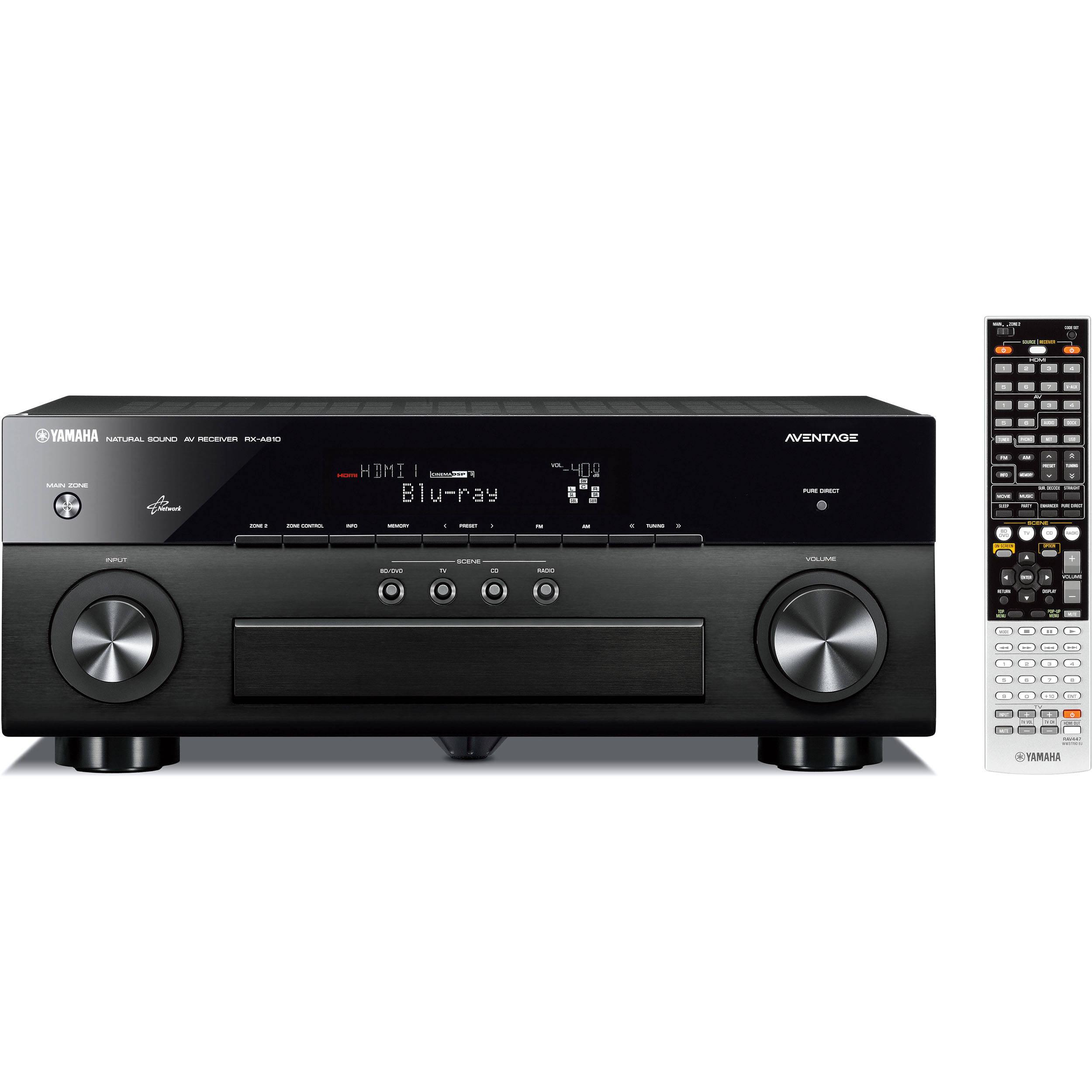 Yamaha rx 810 a v receiver black rx a810bl b h photo video for Yamaha tv receiver