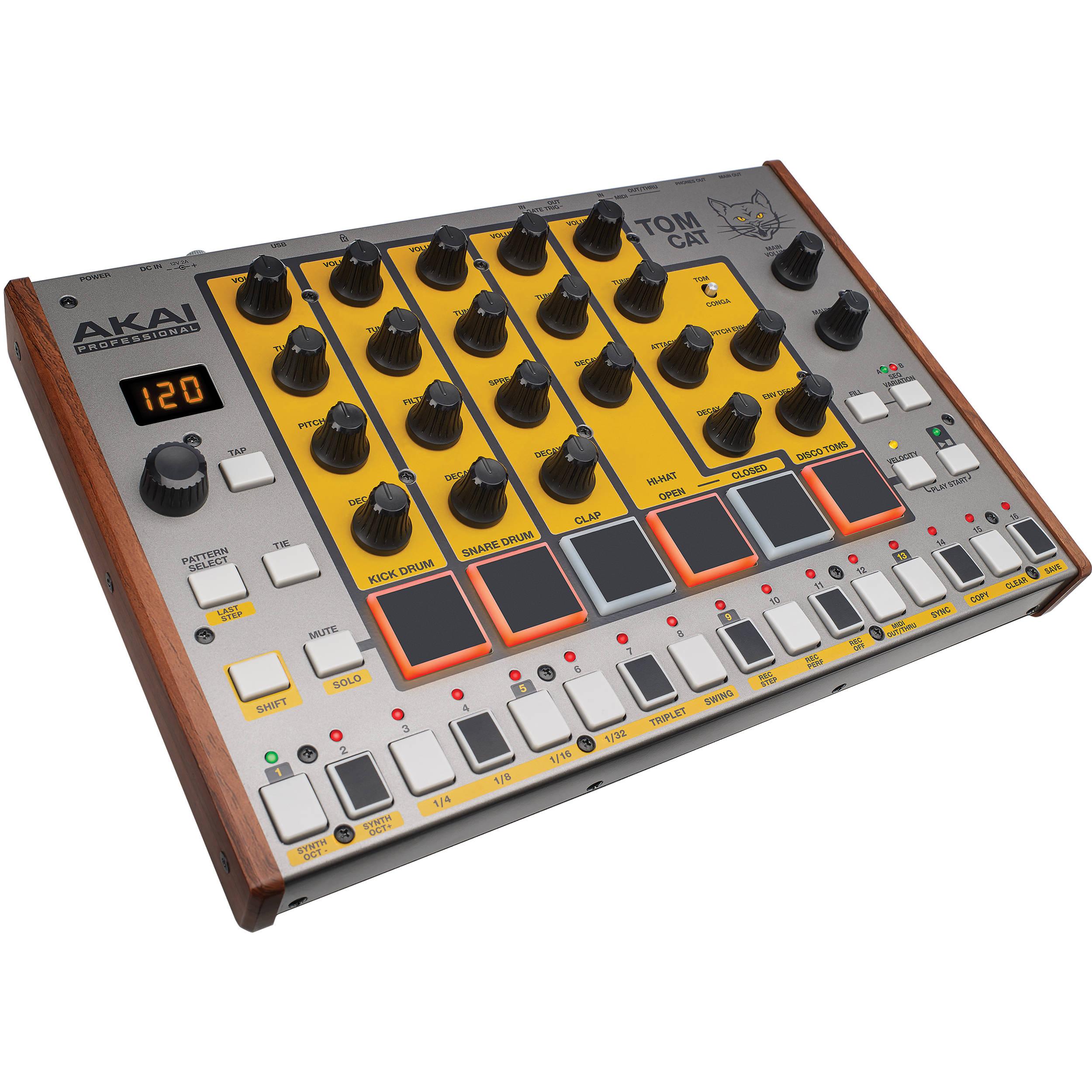 akai professional tom cat analog drum machine tom cat b h photo. Black Bedroom Furniture Sets. Home Design Ideas