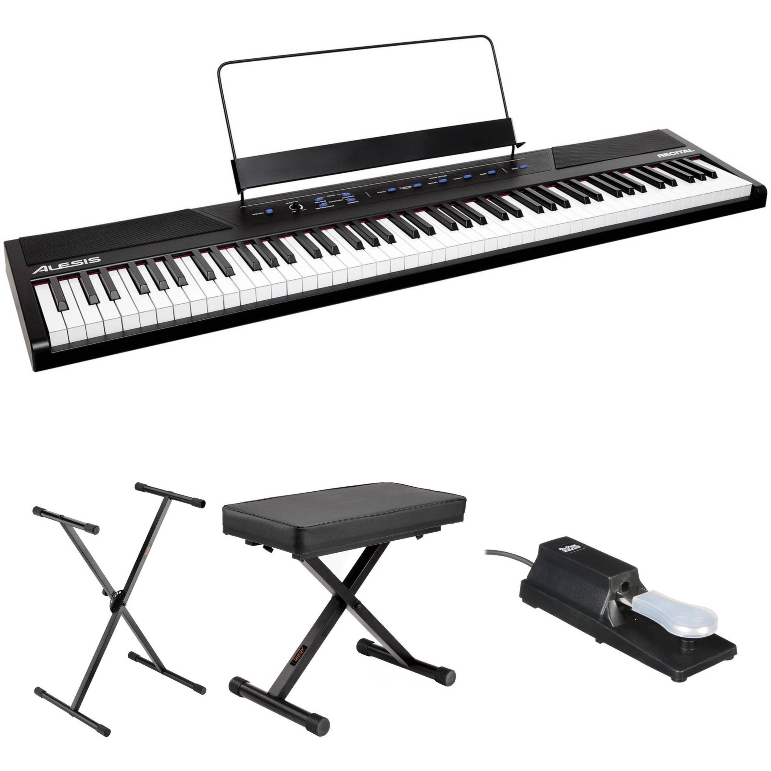 alesis recital 88 key digital piano essentials kit b h photo. Black Bedroom Furniture Sets. Home Design Ideas