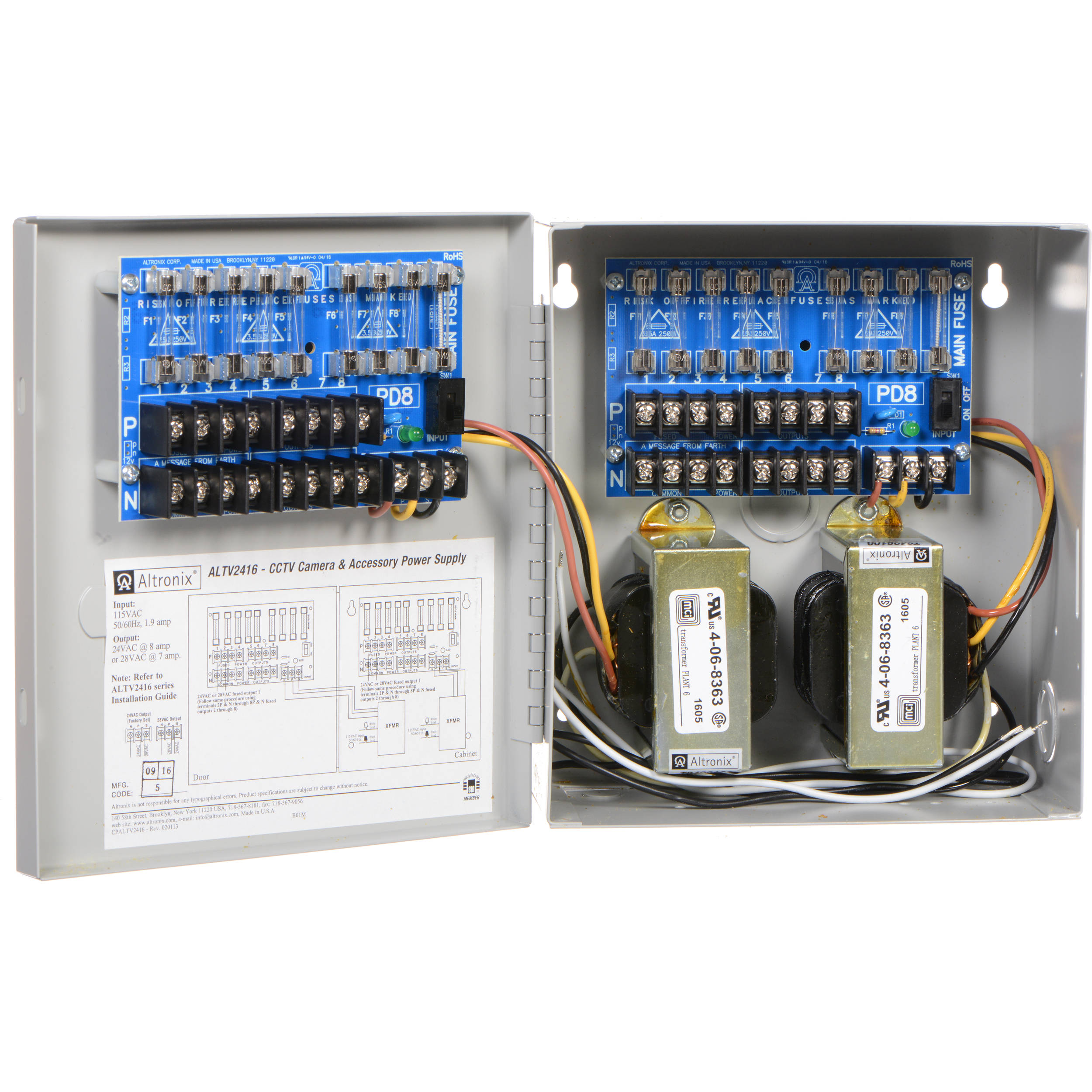 Altronix 16 Output Power Supply Altv2416 Bh Photo Video Tv And Component Wiring Guide 24 Vac 8a 28 7a