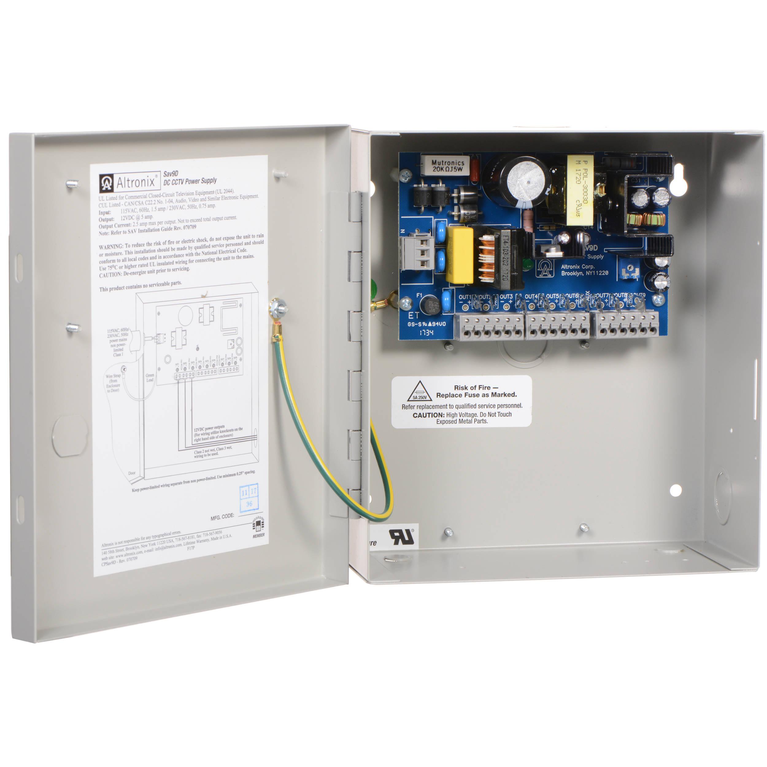 altronix sav9d 9 output 12vdc power supply sav9d b h photo video rh bhphotovideo com LED DC 12V Wiring 12V DC Circuit Breakers