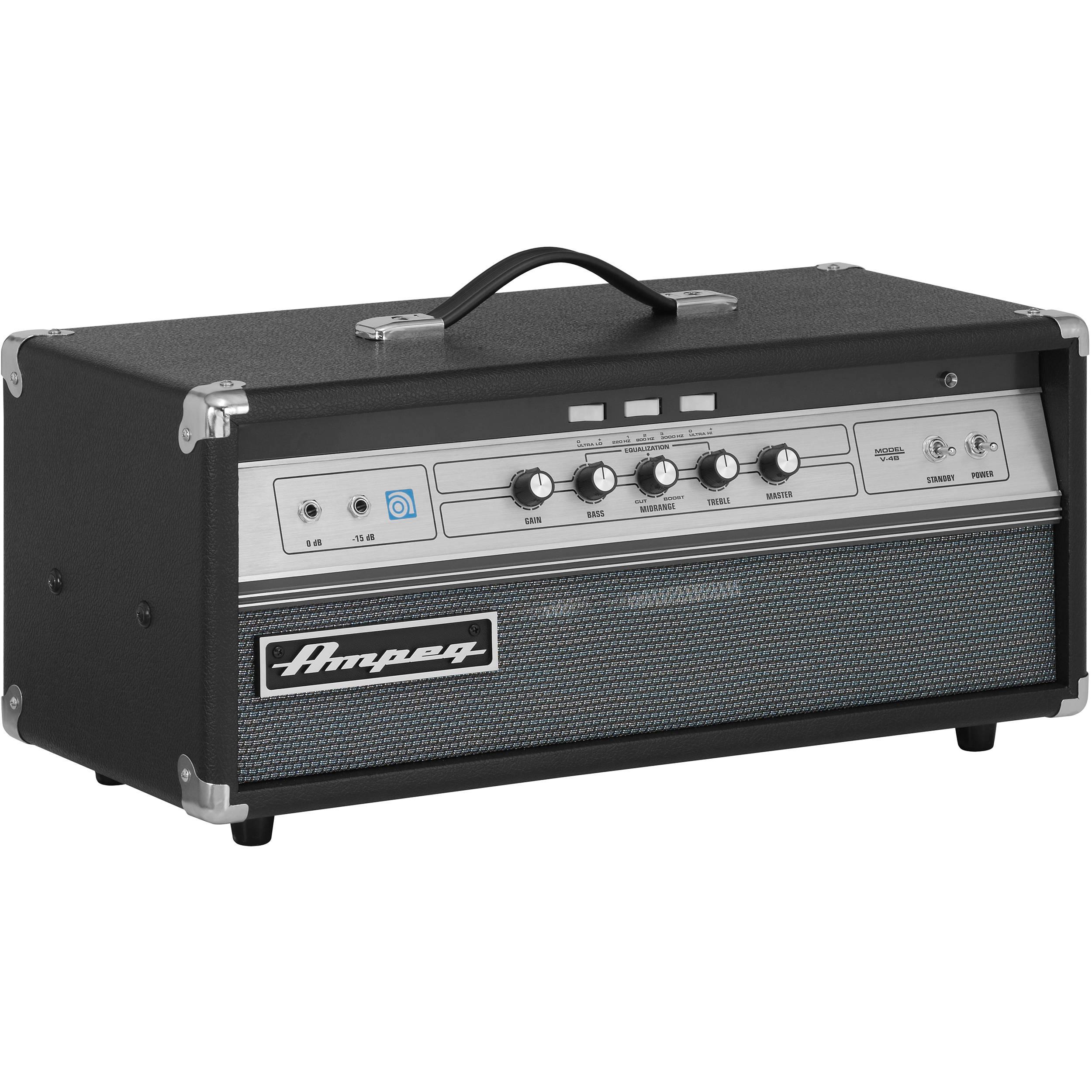 ampeg v 4b 100 watt all tube bass amplifier head v 4b b h photo. Black Bedroom Furniture Sets. Home Design Ideas
