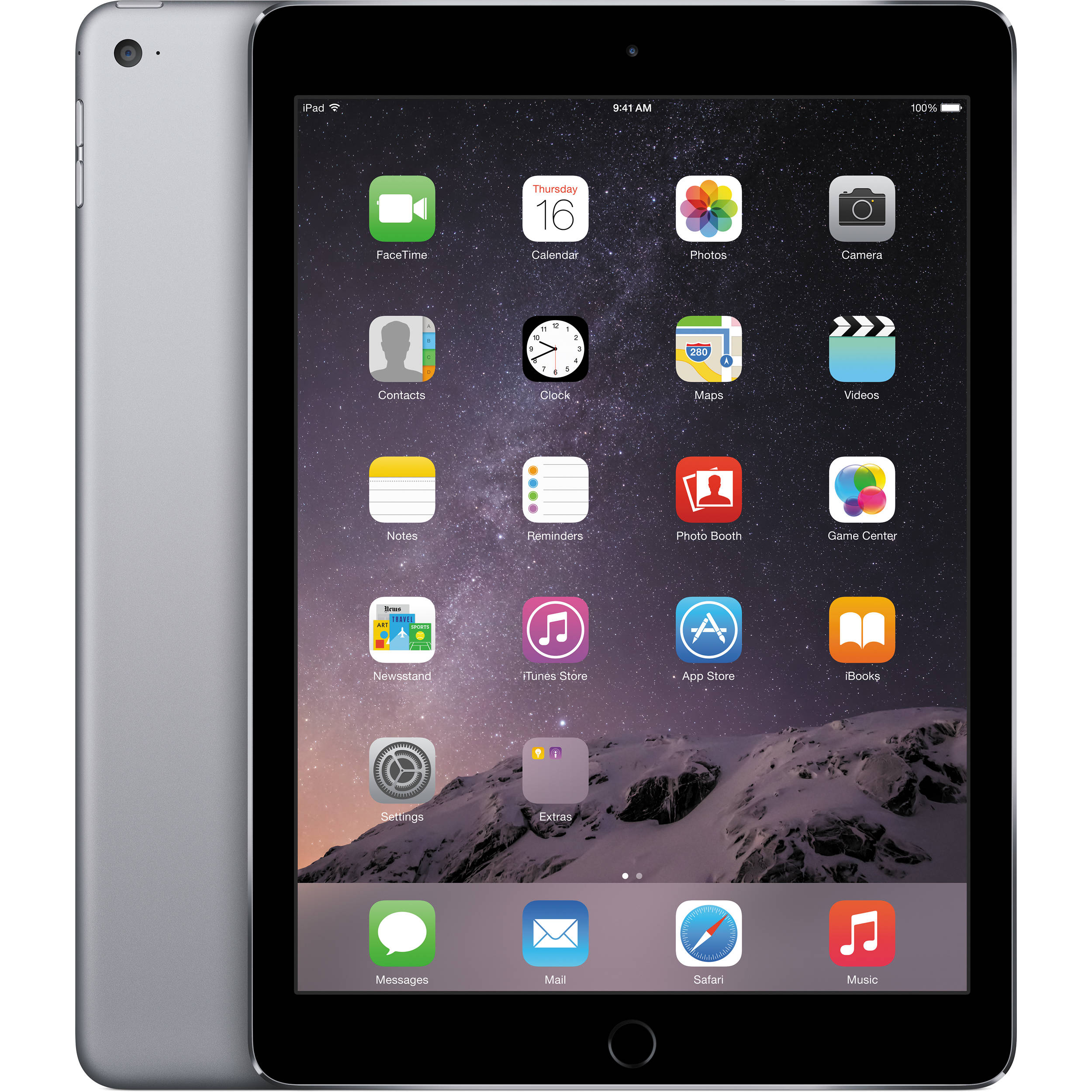 apple 128gb ipad air 2 wi fi only space gray mgtx2ll a b h. Black Bedroom Furniture Sets. Home Design Ideas