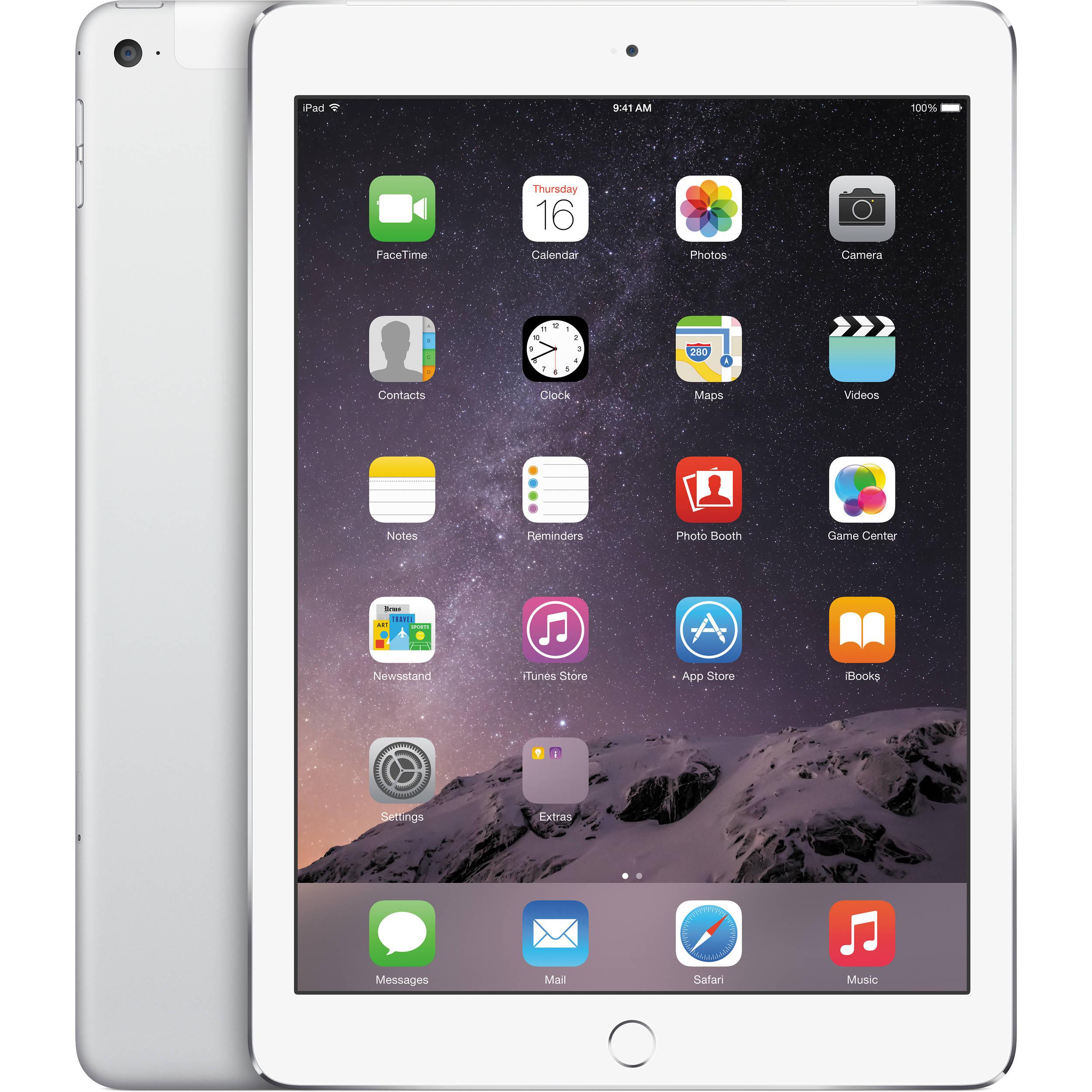 apple 64gb ipad air 2 wi fi 4g lte silver mh2n2ll a b h rh bhphotovideo com Apple A1430 iPad Charger New Apple iPad