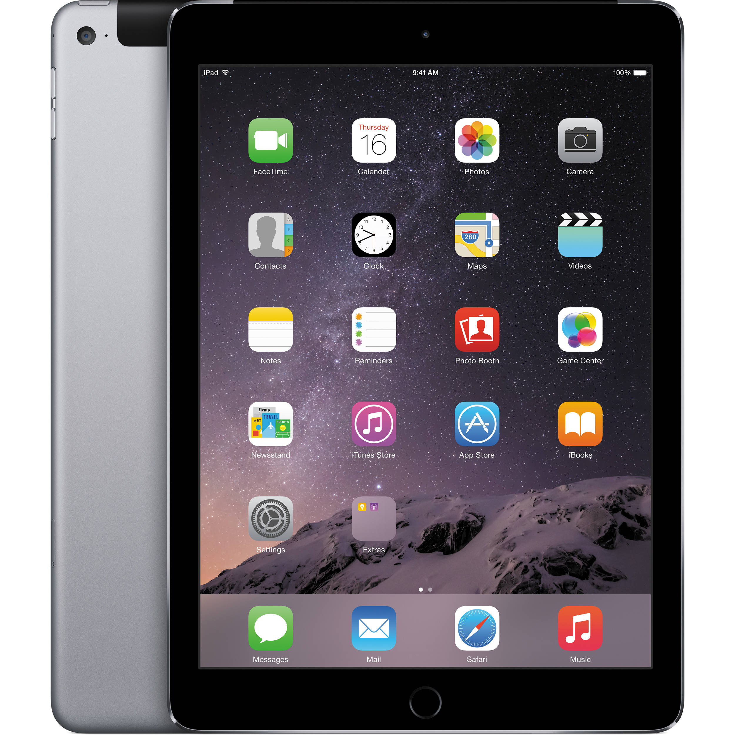 apple 16gb ipad air 2 wi fi 4g lte space gray mh2u2ll. Black Bedroom Furniture Sets. Home Design Ideas