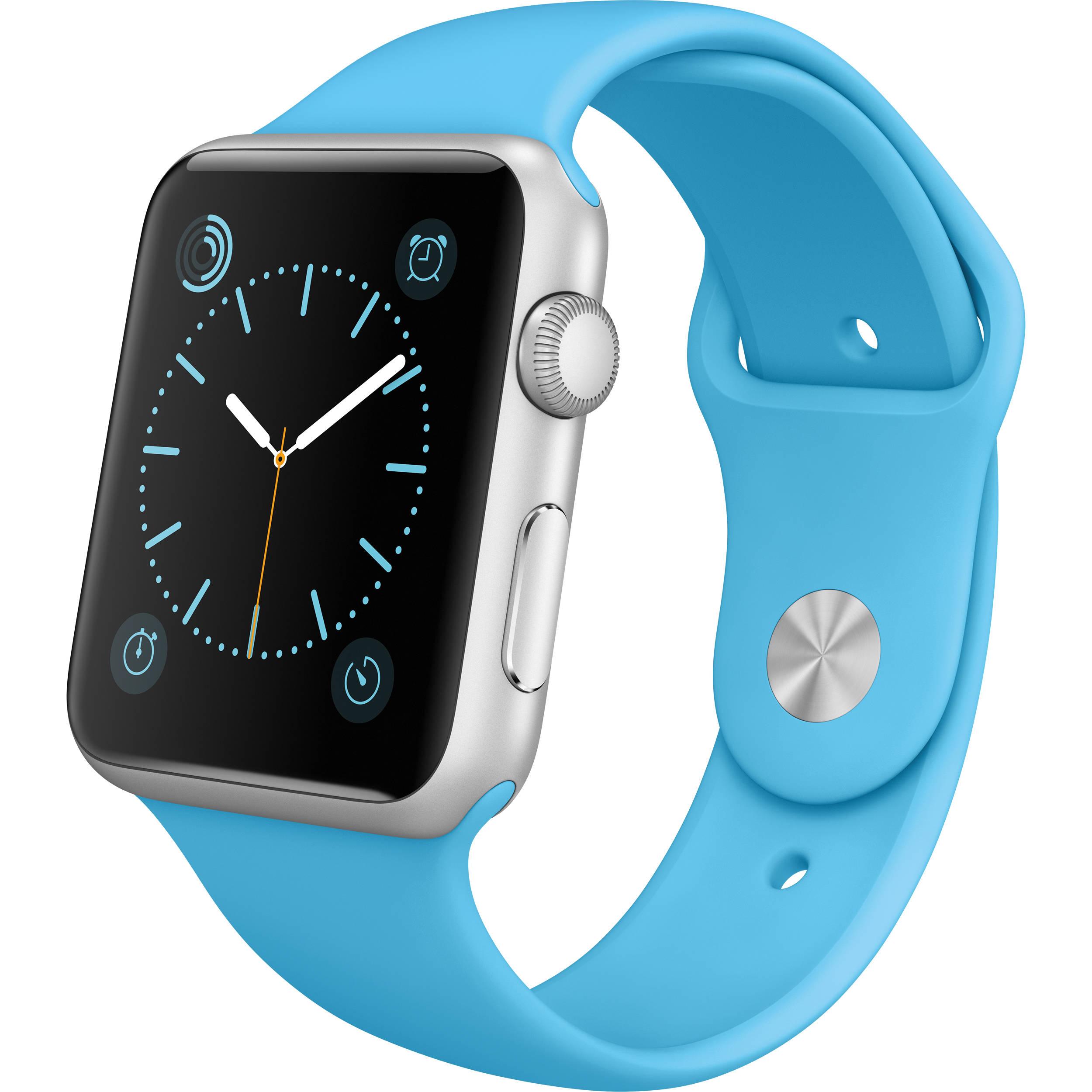 Apple Watch Sport 42mm Smartwatch Mlc52ll A Bh Photo Video Click Image For Larger Versionnameimg1634jpgviews268size638 Kbid 2015 Silver Aluminum Case Blue Band