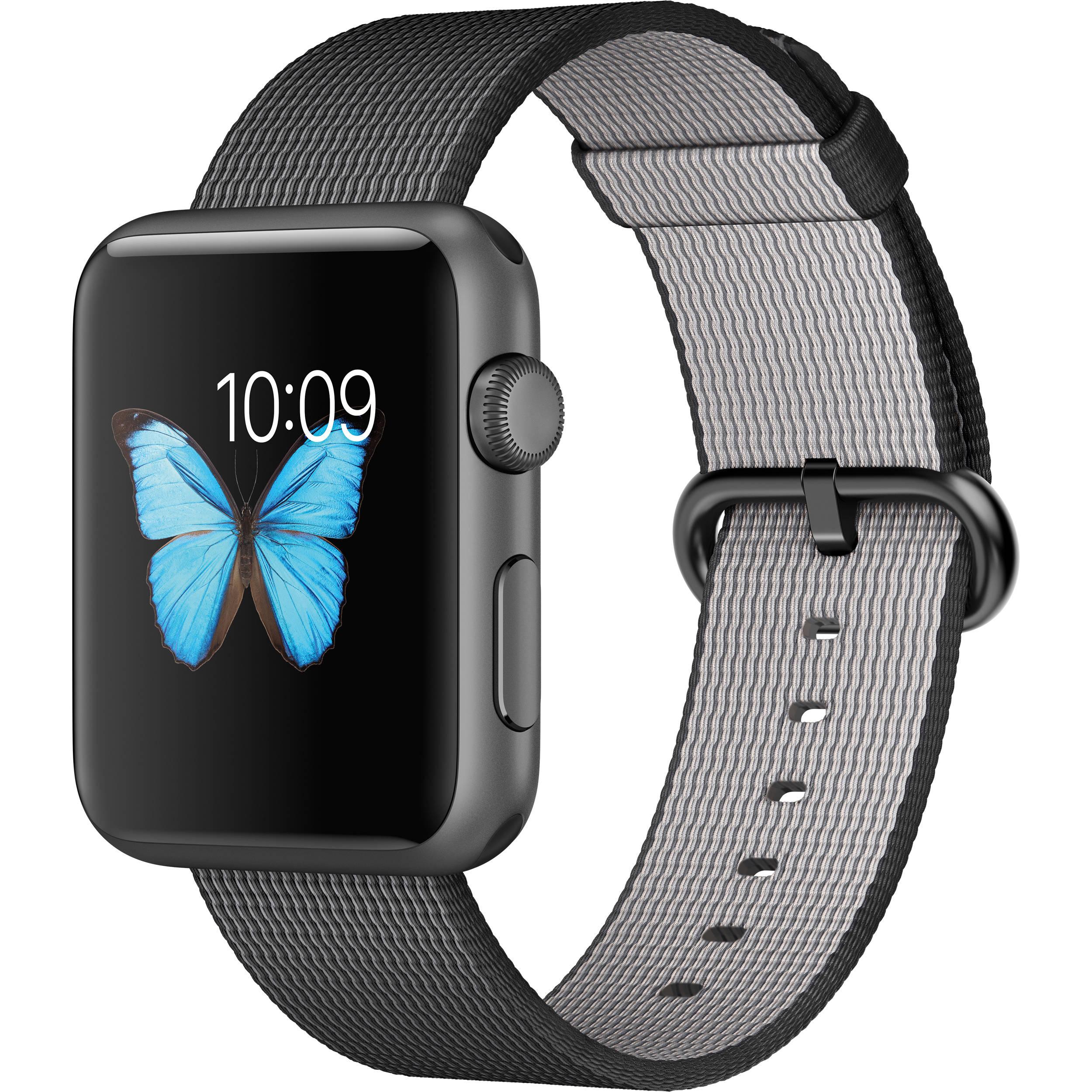 1165a13c71e4 Apple Watch Sport 42mm Smartwatch (2015, Space Gray Aluminum Case, Black  Woven Nylon Band)