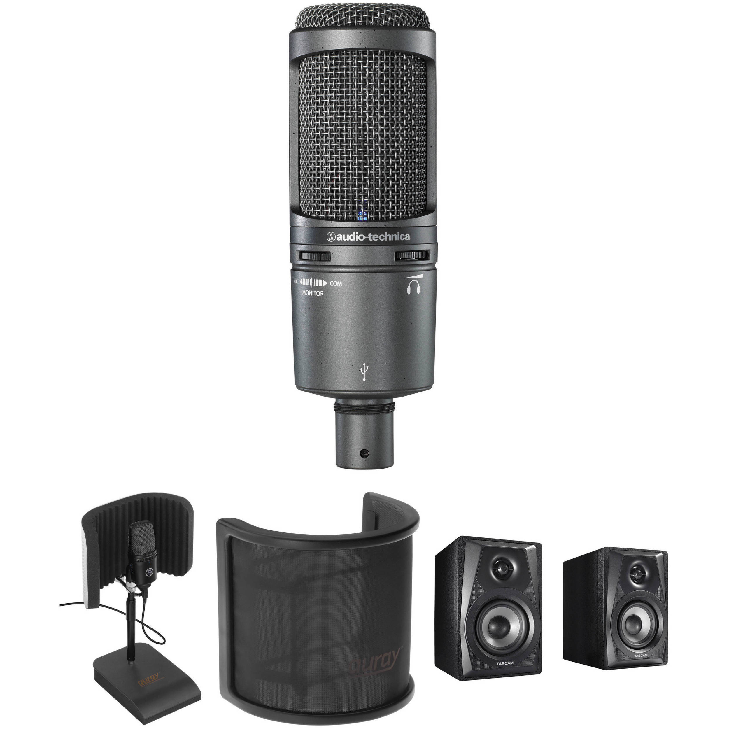 audio technica at2020usb usb microphone kit with reflecti b h. Black Bedroom Furniture Sets. Home Design Ideas