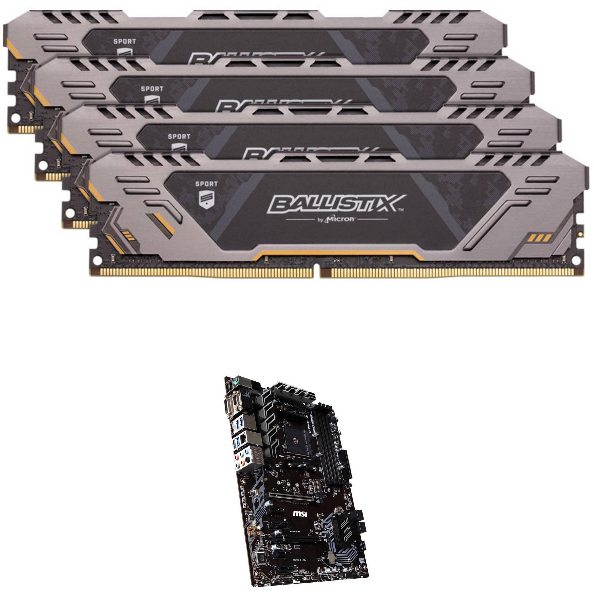 64GB Sport AT Series DDR4 & MSI B450-A PRO AM4 ATX Motherboard Kit