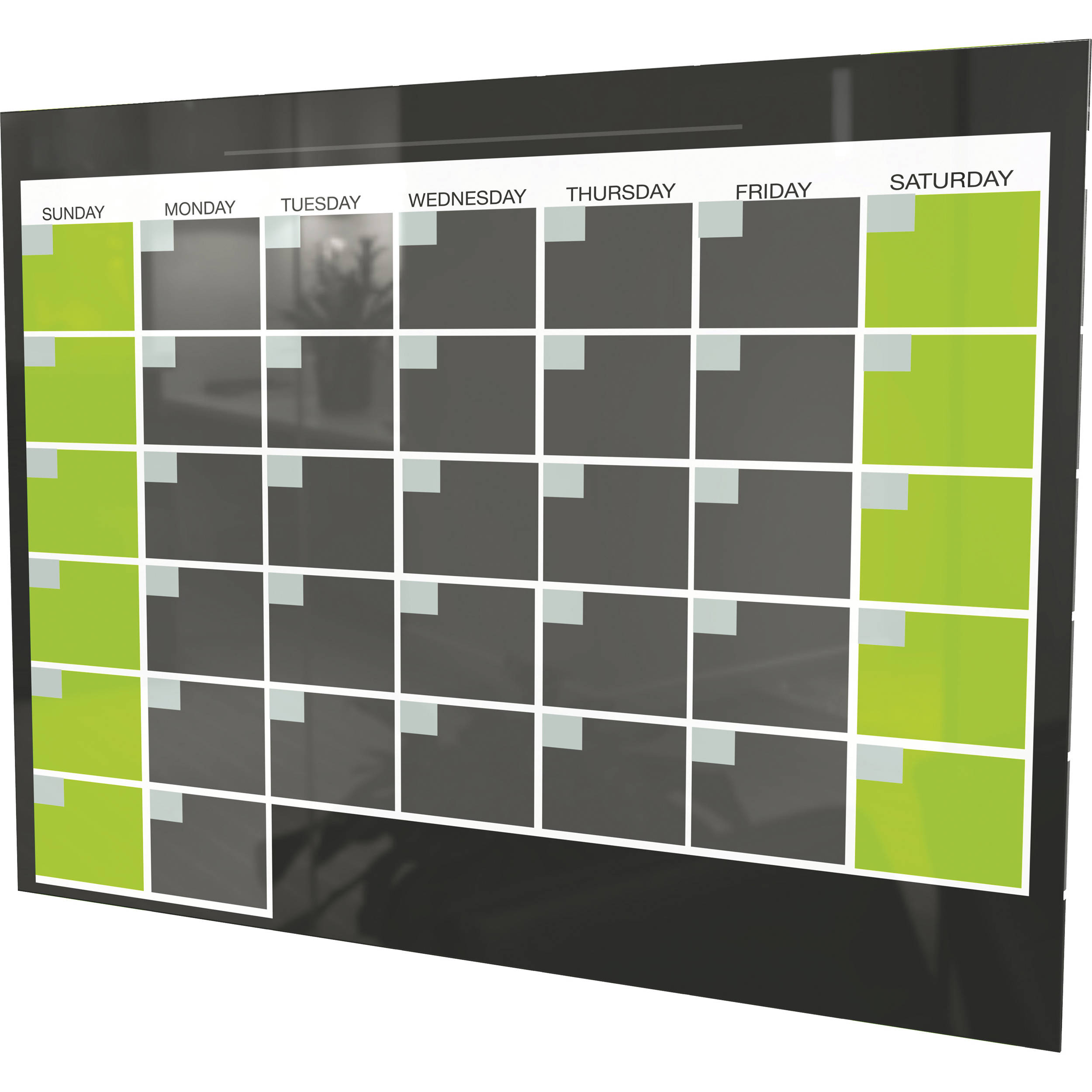 Balt Black Magnetic Glass Dry Erase Monthly Calendar 84110 B H