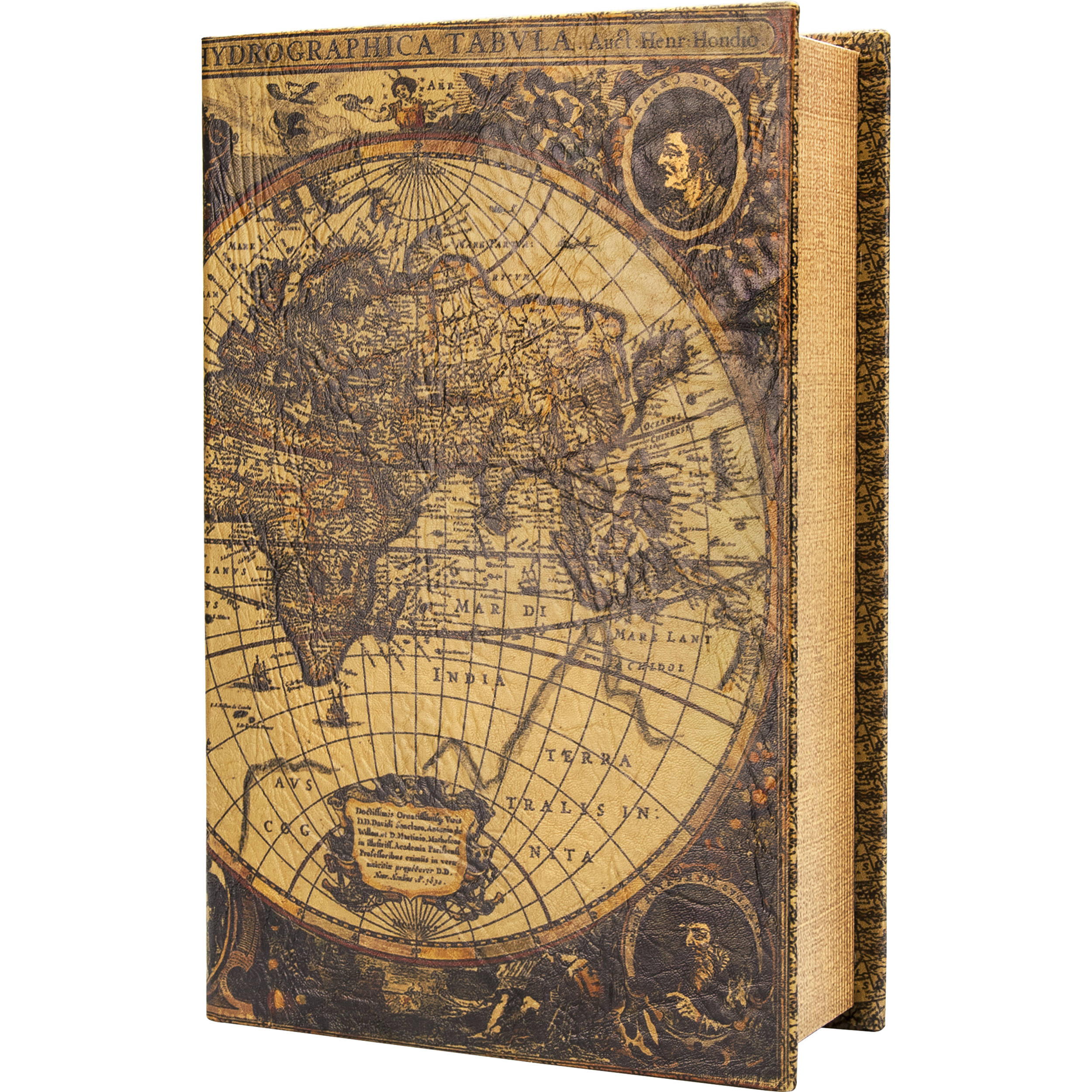 Barska Antique Map Book Lock Box With Keyed Lock CB BH - Antique map box