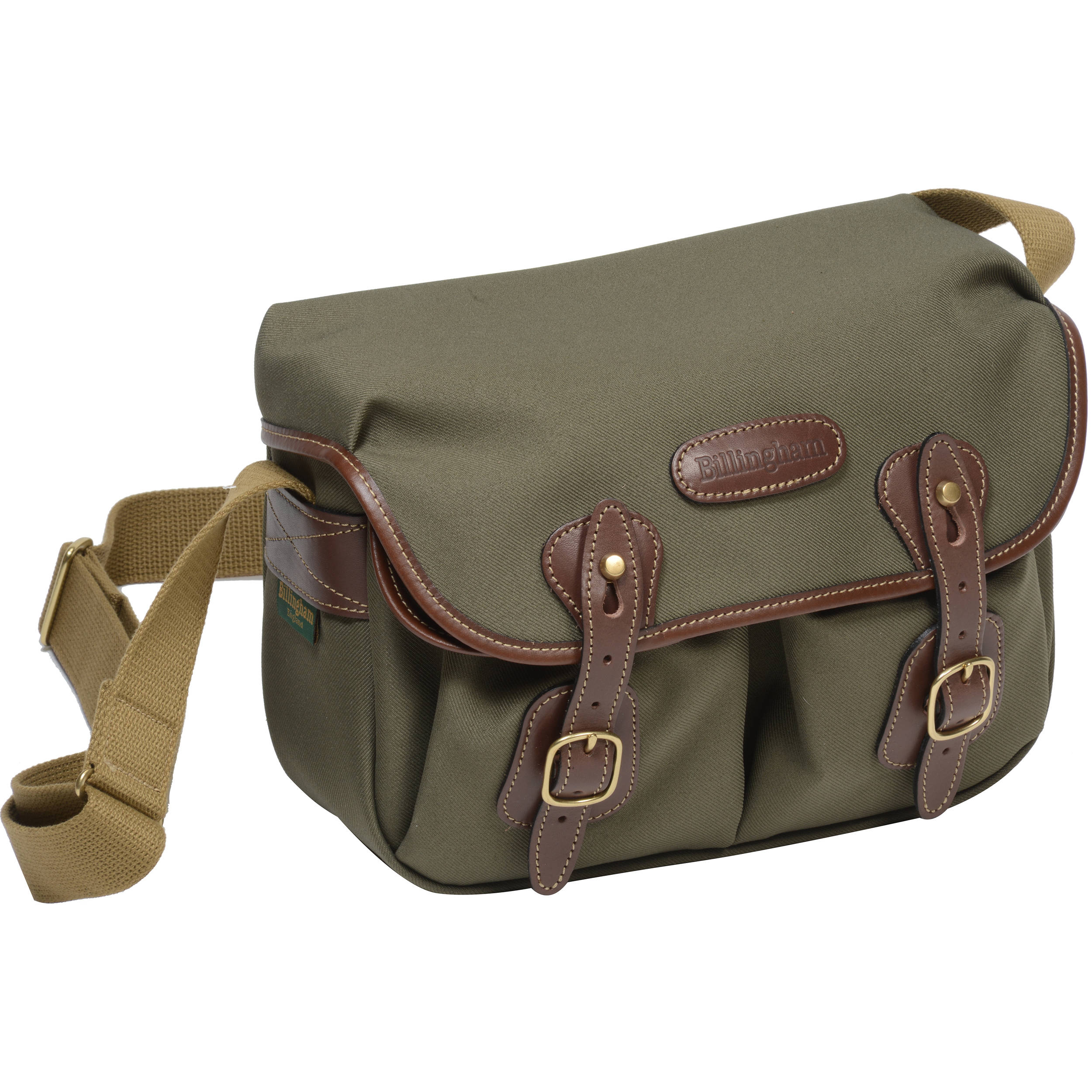 Billingham Hadley Shoulder Bag Small Sage With Chocolate Leather Trim