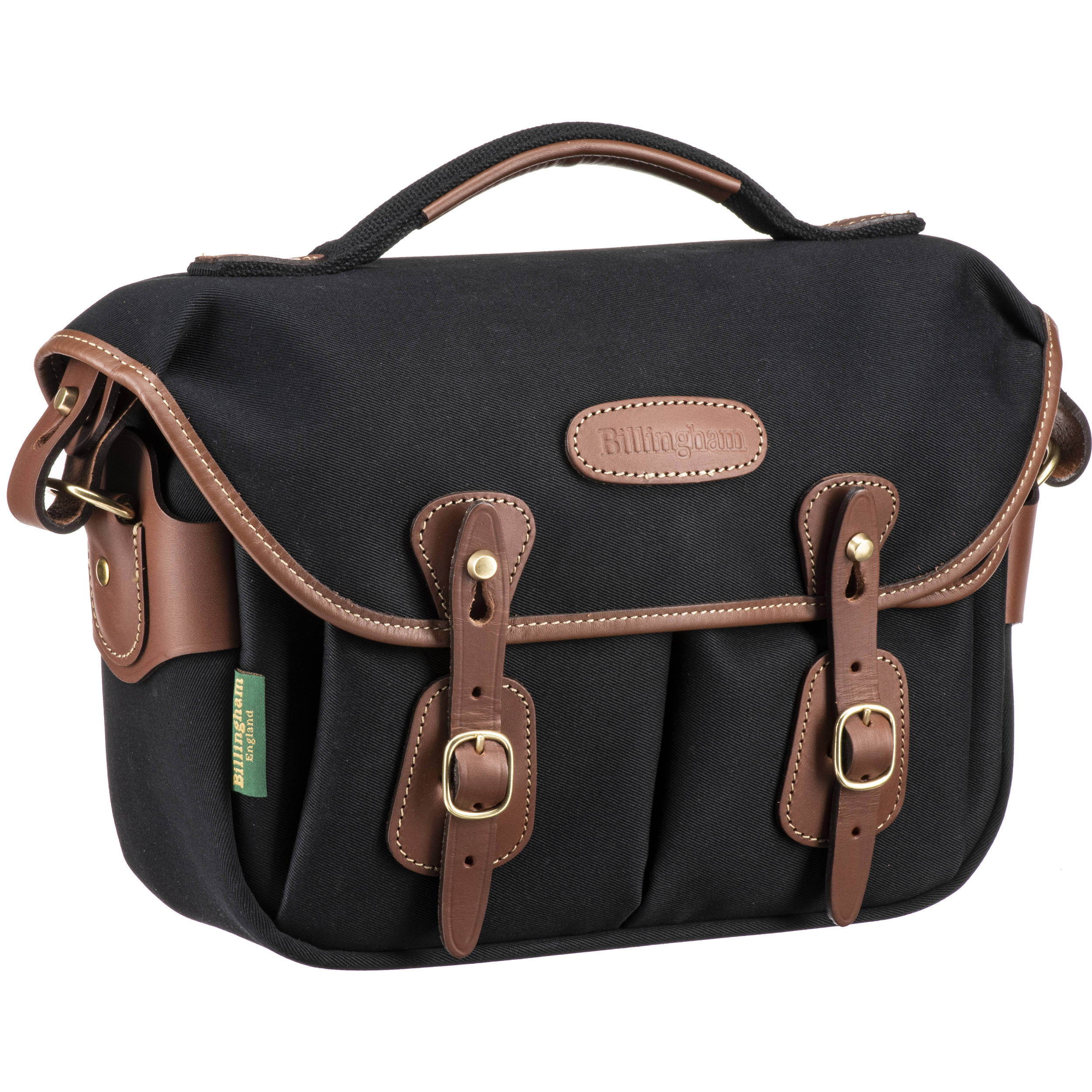 Billingham Hadley Small Pro Shoulder Bag Black Canvas Tan Leather