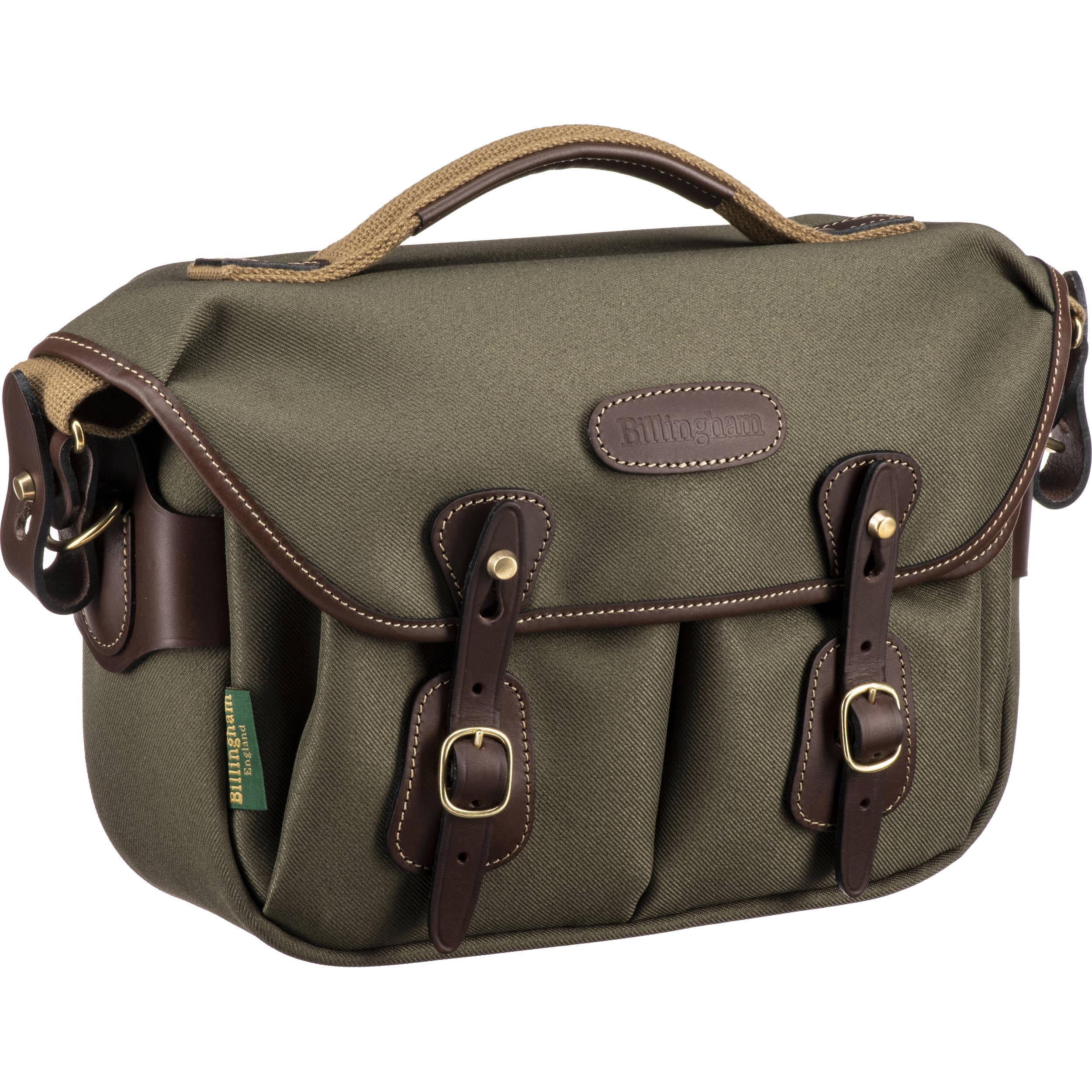 Billingham Hadley Small Pro Shoulder Bag Sage Fibrenyte Chocolate Leather