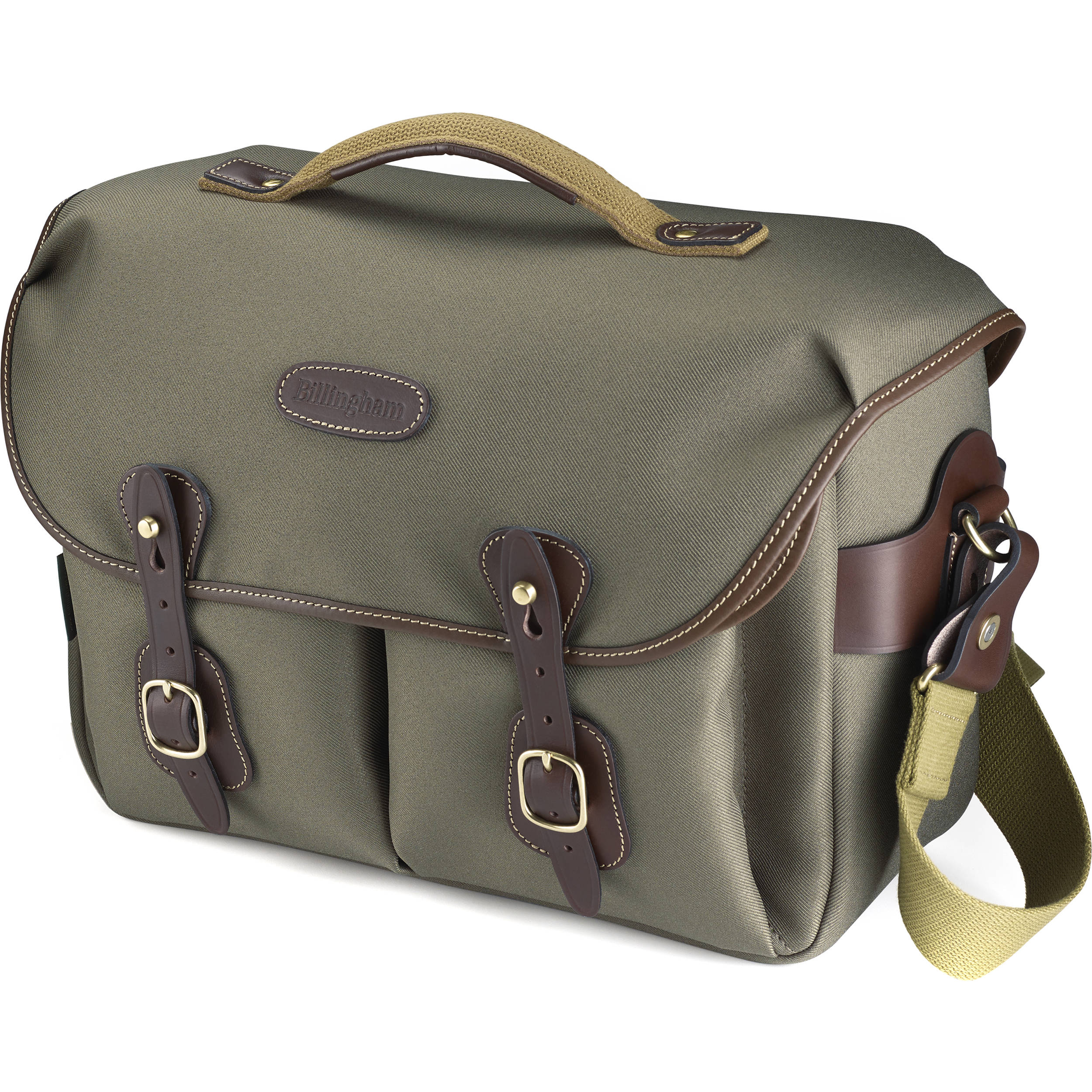 Billingham Hadley One Camera Bag Sage Fibrenyte With Chocolate Leather