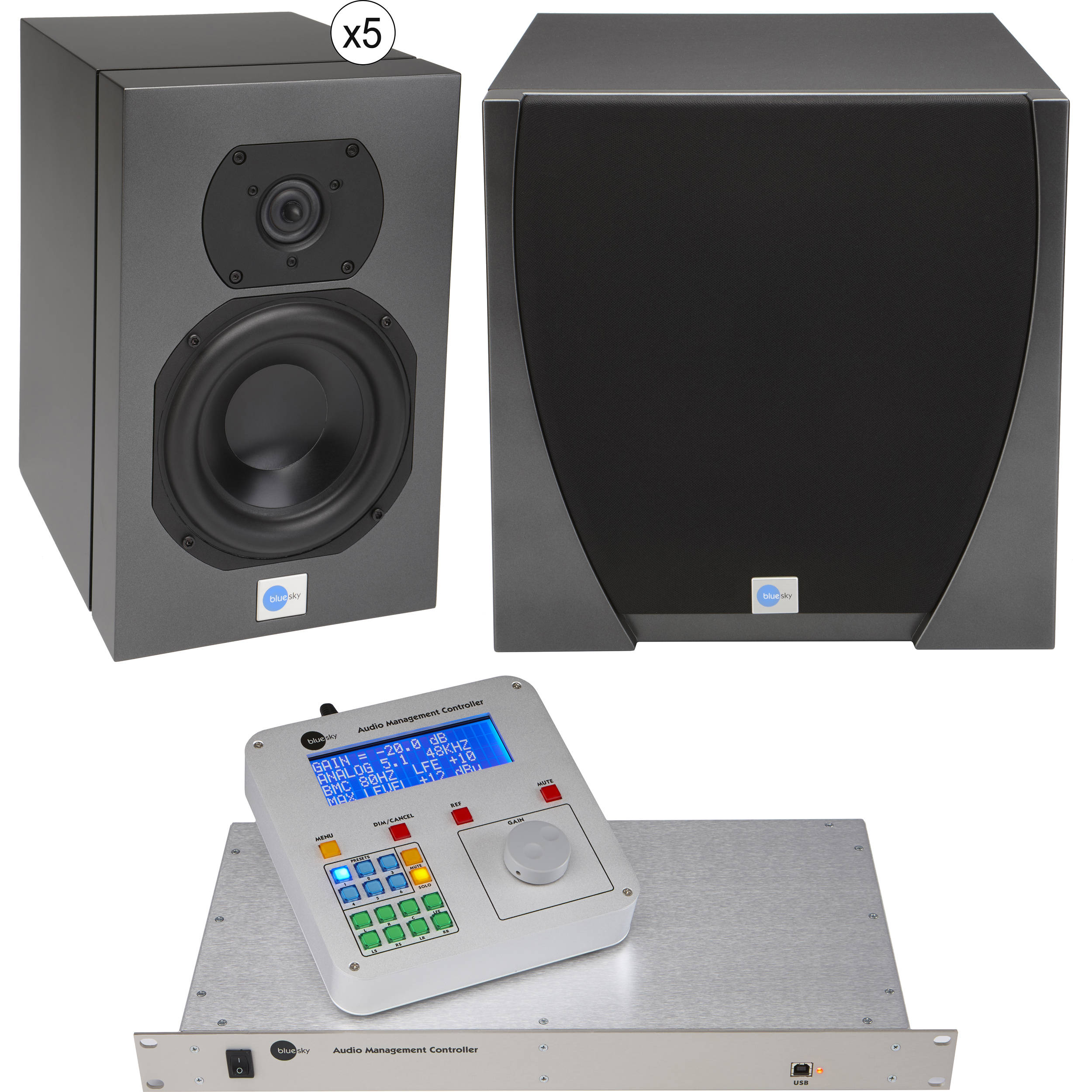 Blue Sky International Star 51 Stereo Subwoofer System Active Crossover Electronic Design With Audio Management Controller