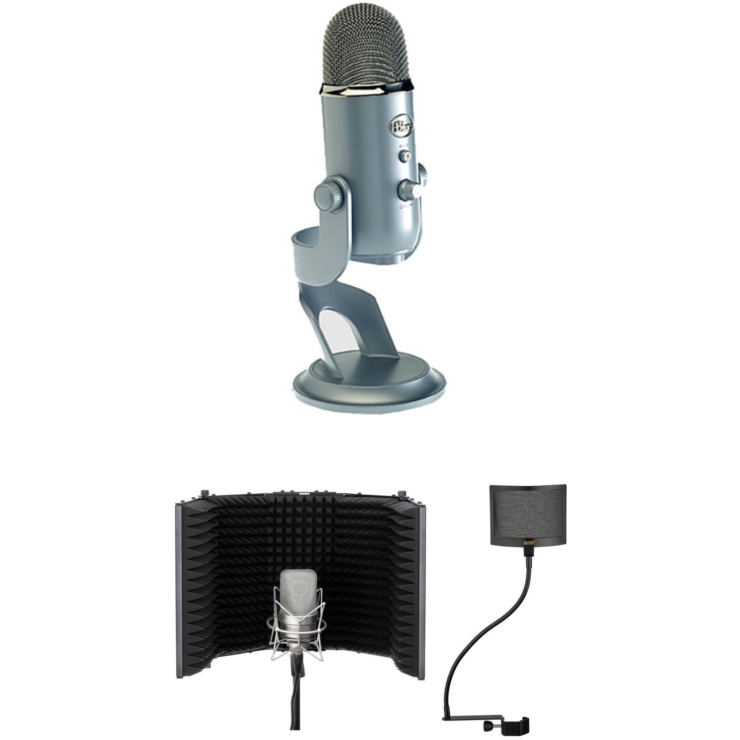 blue yeti usb mic kit with windscreen and reflection filter b h. Black Bedroom Furniture Sets. Home Design Ideas