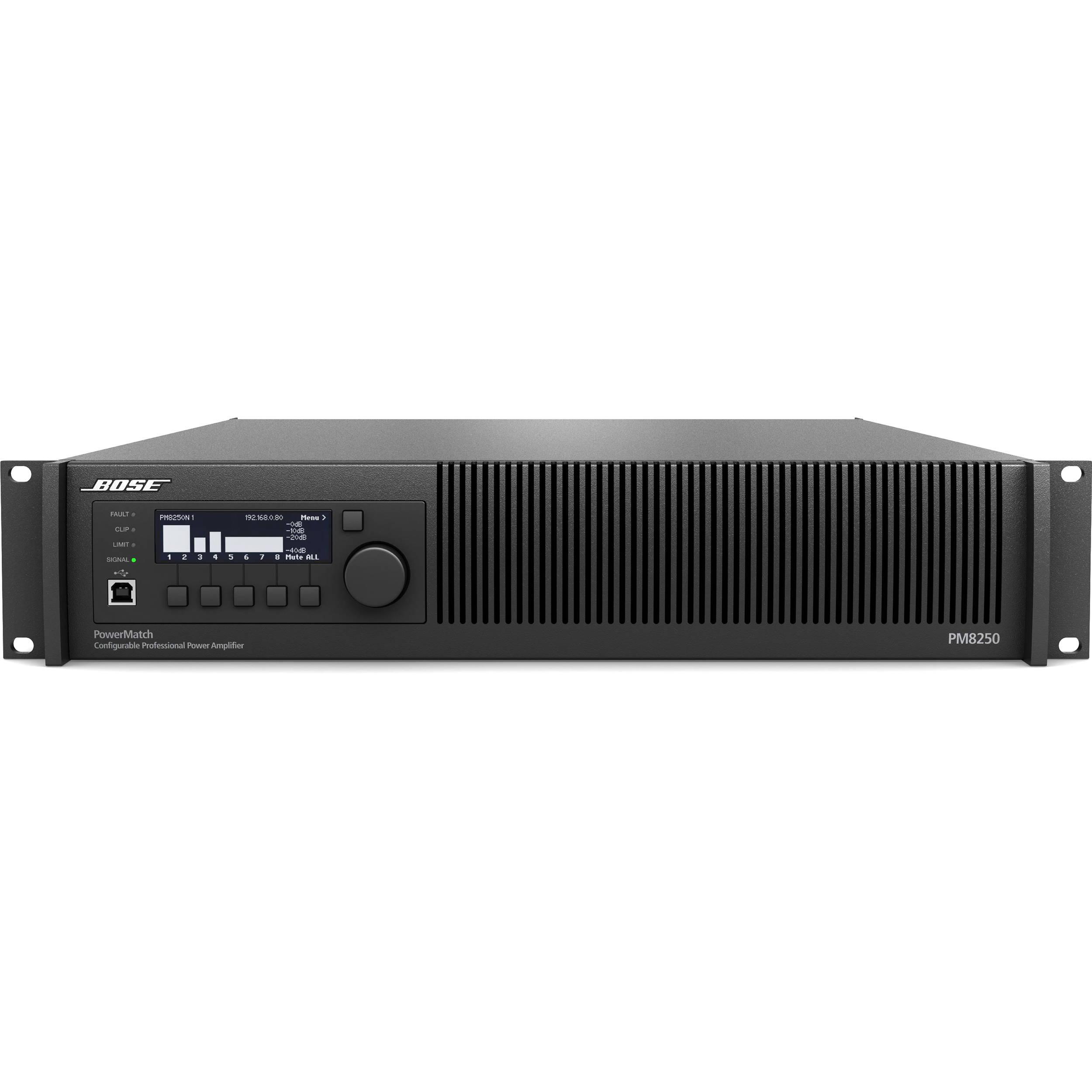 Bose Professional Powermatch Pm8250n Power Amplifier 361810 1110 45 Watt Class B Audio With Ethernet Network Control 2ru