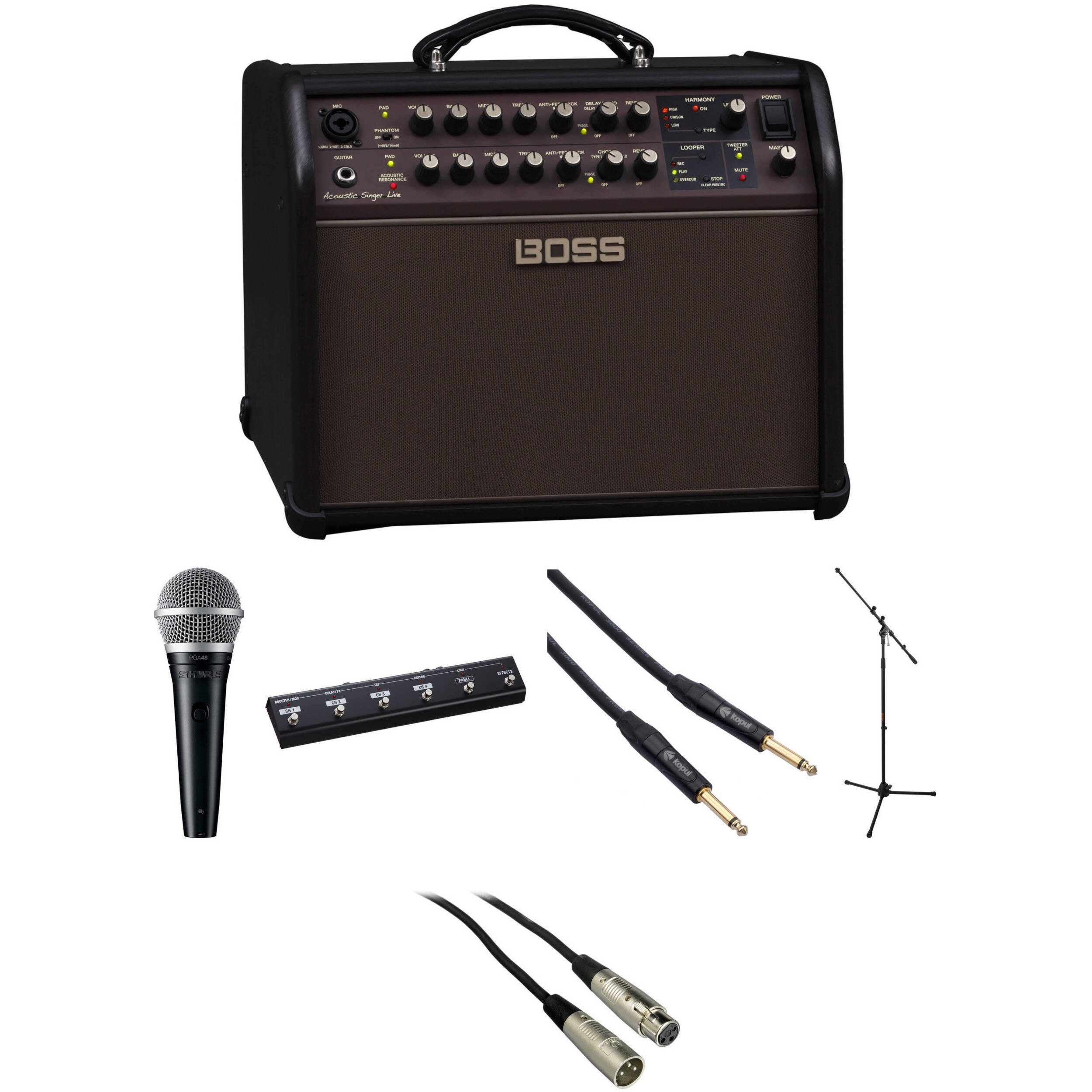 boss acs live 60w combo amp kit with shure microphone and more. Black Bedroom Furniture Sets. Home Design Ideas