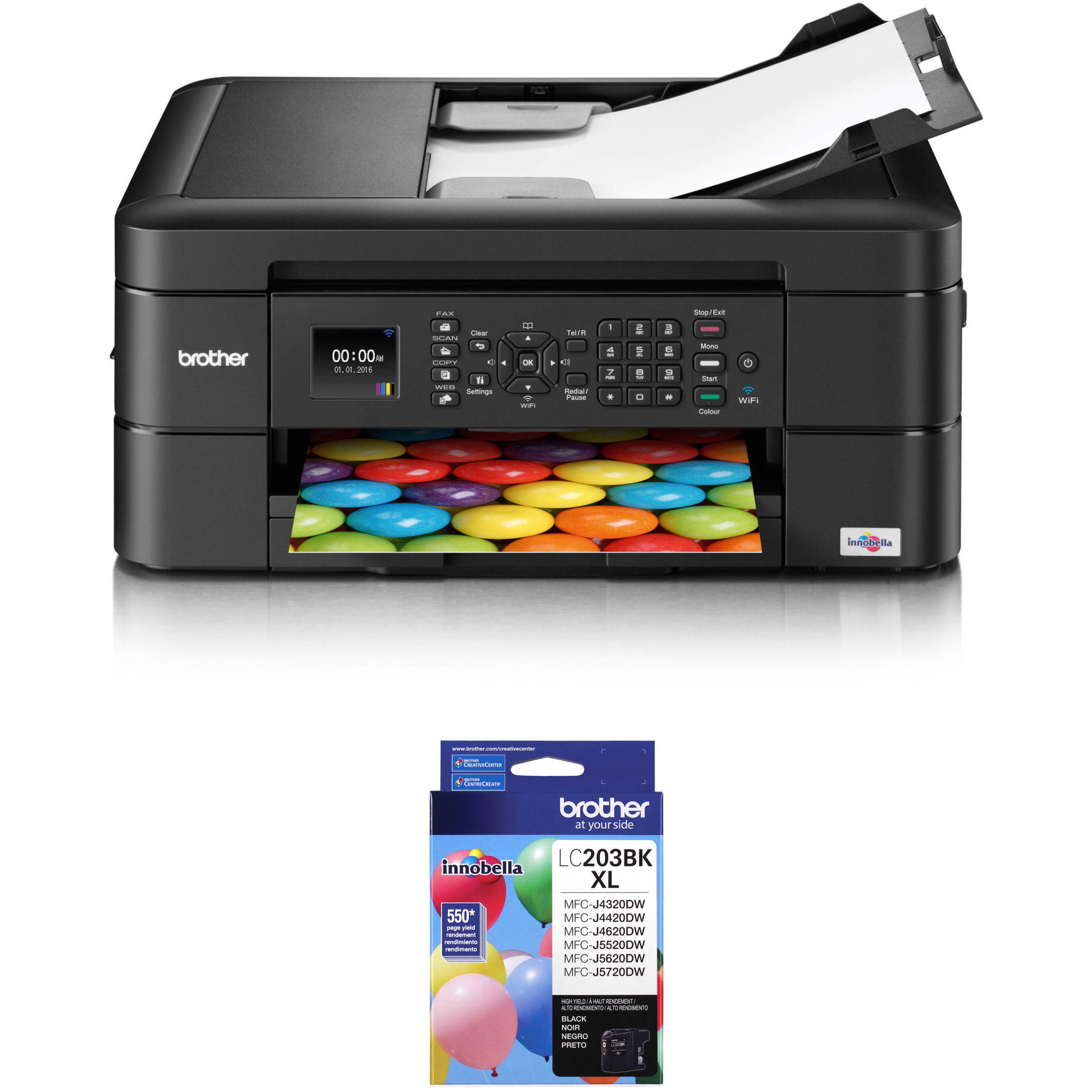 Brother WorkSmart Series MFC J460DW All In One Inkjet Printer With Additional High