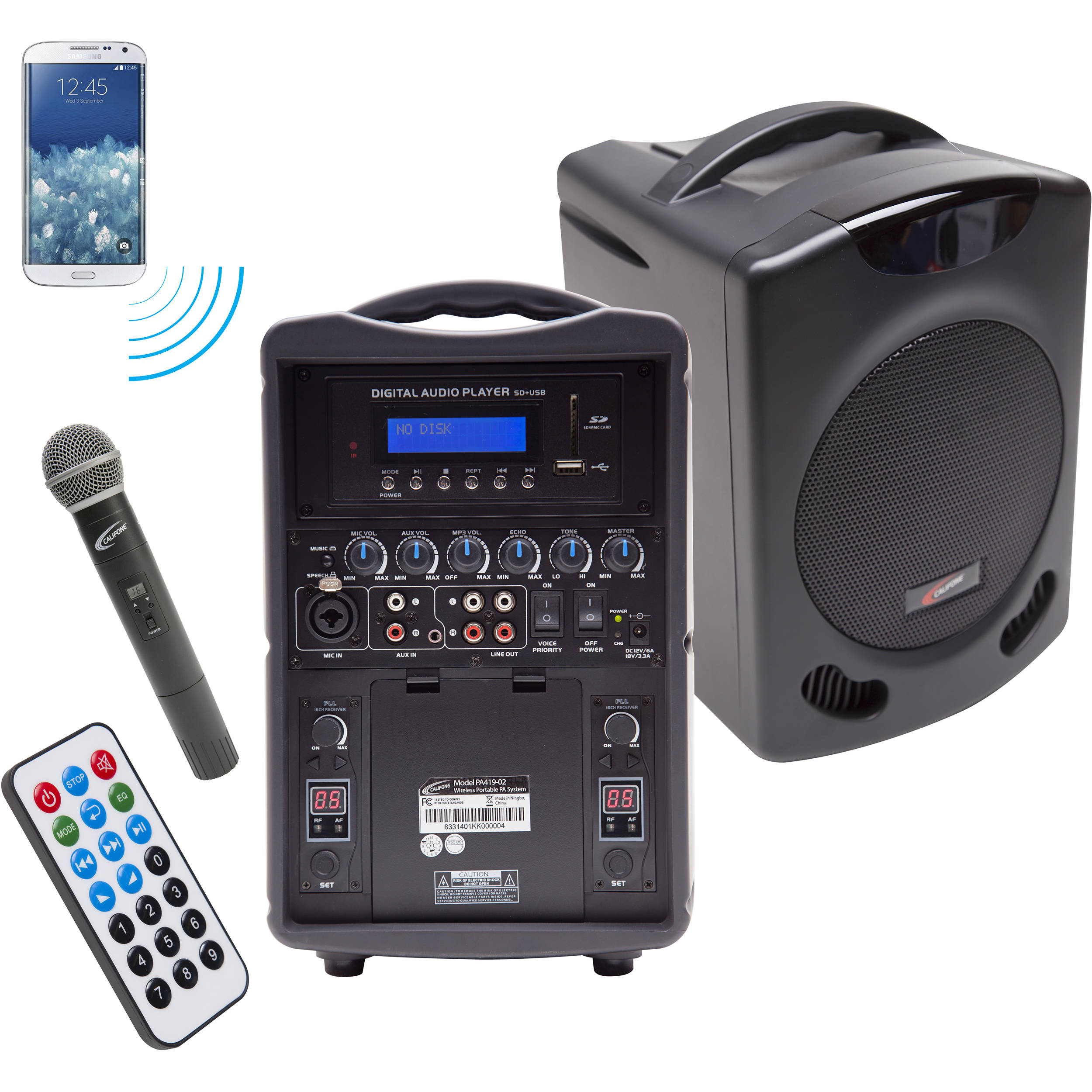califone pa419q portable bluetooth pa with handheld pa419 q b h. Black Bedroom Furniture Sets. Home Design Ideas